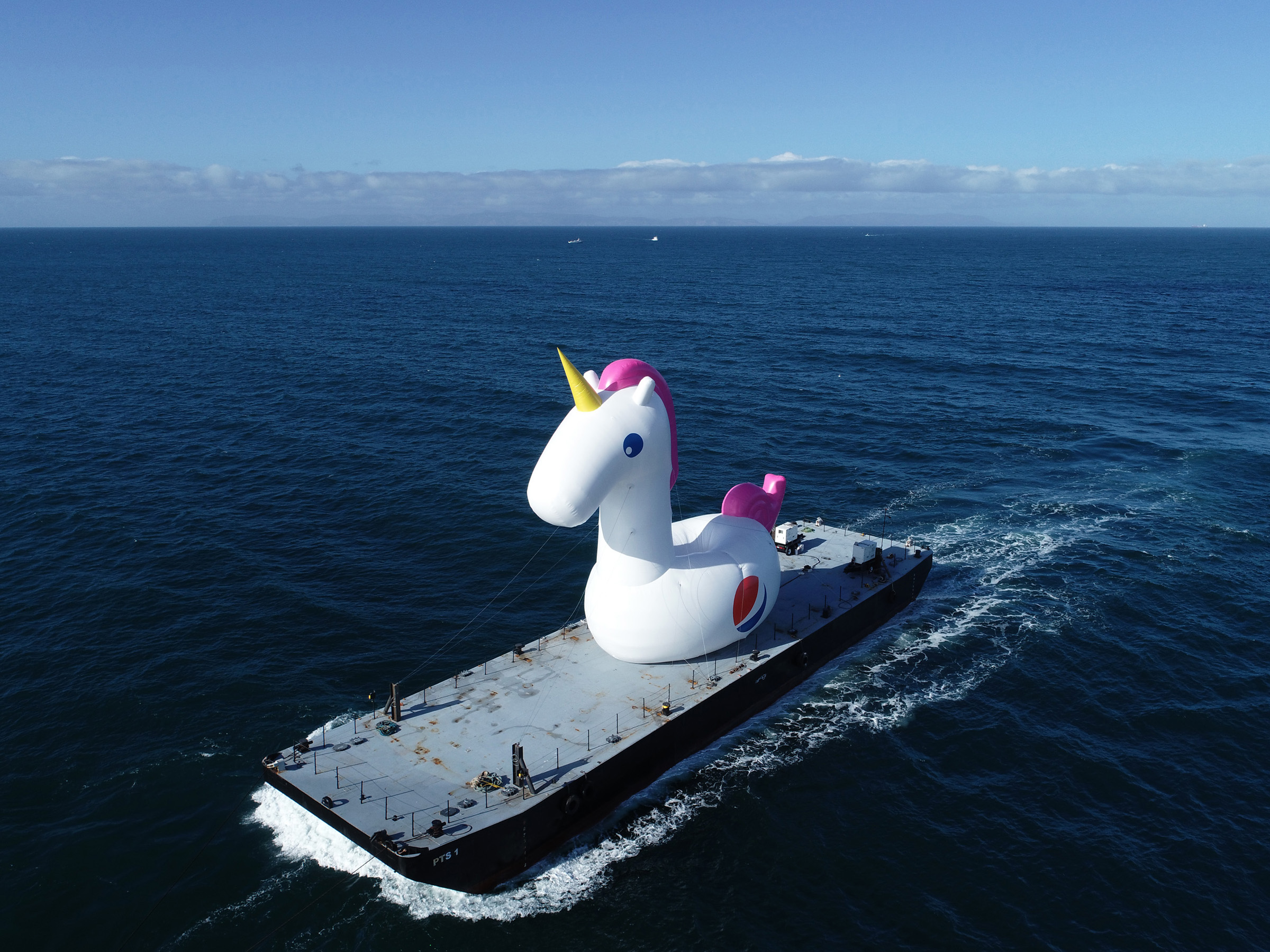"""Pool Day All Day"" Pepsi #Summergram Unicorn floatie traveling from Long Beach to Malibu"