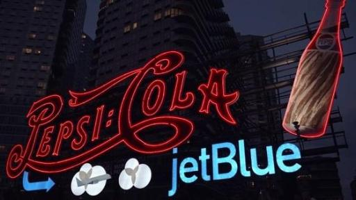 B-Roll: For the first time ever, PepsiCo temporarily added JetBlue branding to its world-famous Pepsi-Cola sign, which will be visible to New Yorkers and visitors through September. The temporary installation of the sign brings together the two brands in celebration of the new partnership between these two New York-based companies.