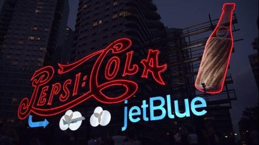 Boomerang: PepsiCo and JetBlue light up the sky in Long Island City, New York in celebration of the new partnership between these two New York-based companies.
