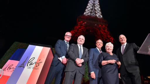 L-R: EVP & CMO of Caesars Entertainment Chris Holdren, Chef Guy Savoy, Clark County Commissioner Jim Gibson, Line Renaud and President of Paris Las Vegas Gary Selesner (Courtesy of Paris Las Vegas)