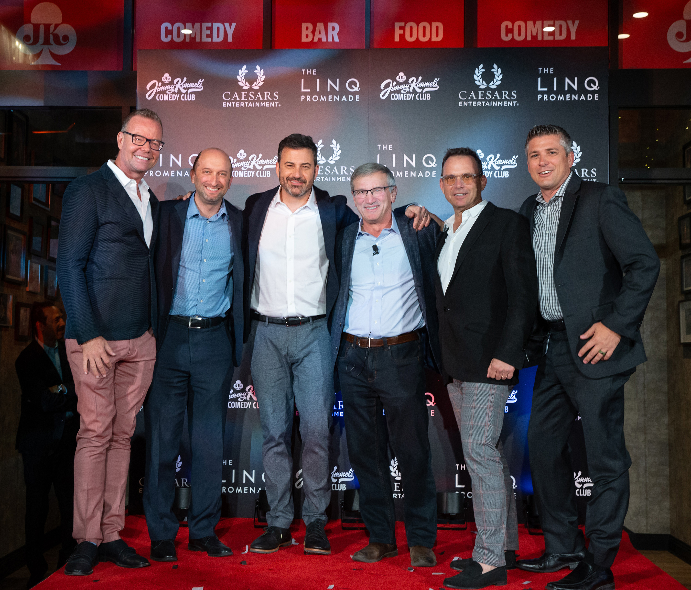 Jimmy Kimmel's Comedy Club Grand Opening - Shaun Swanger, Jason Gastwirth, Jimmy Kimmel, Tony Rodio, Michael Gruber, Damian Costa (Photo Credit: Kabik Photo Group)