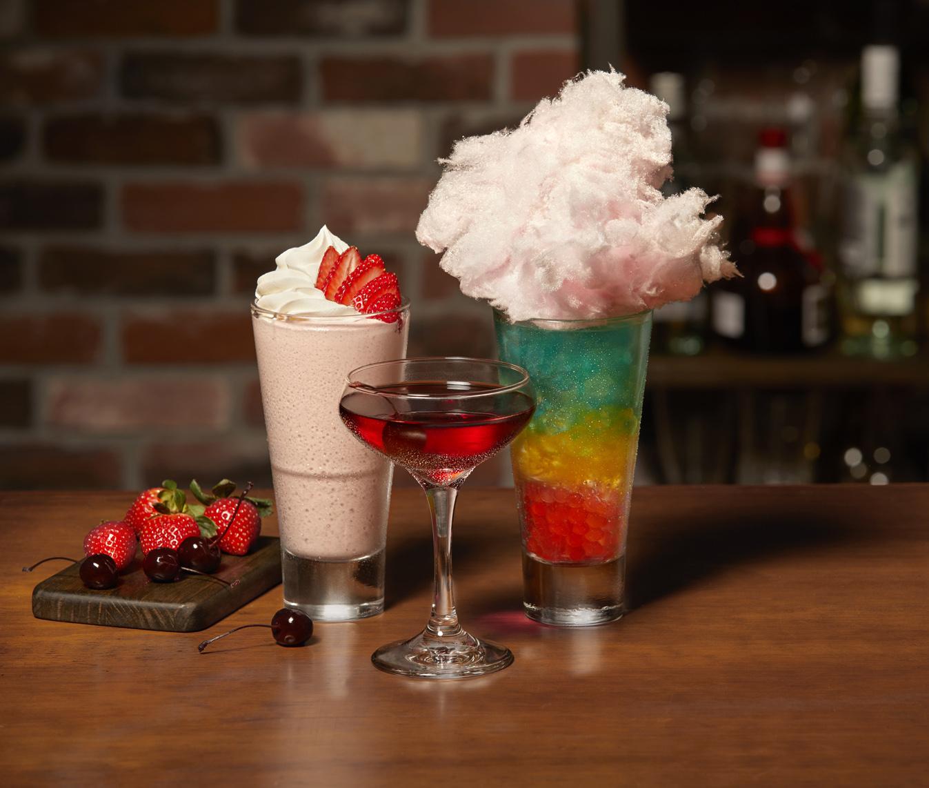 Limited-Time Cocktails: Strawberry Shortcake, Bordeaux Cherry Manhattan, Electric Unicorn (l to r)