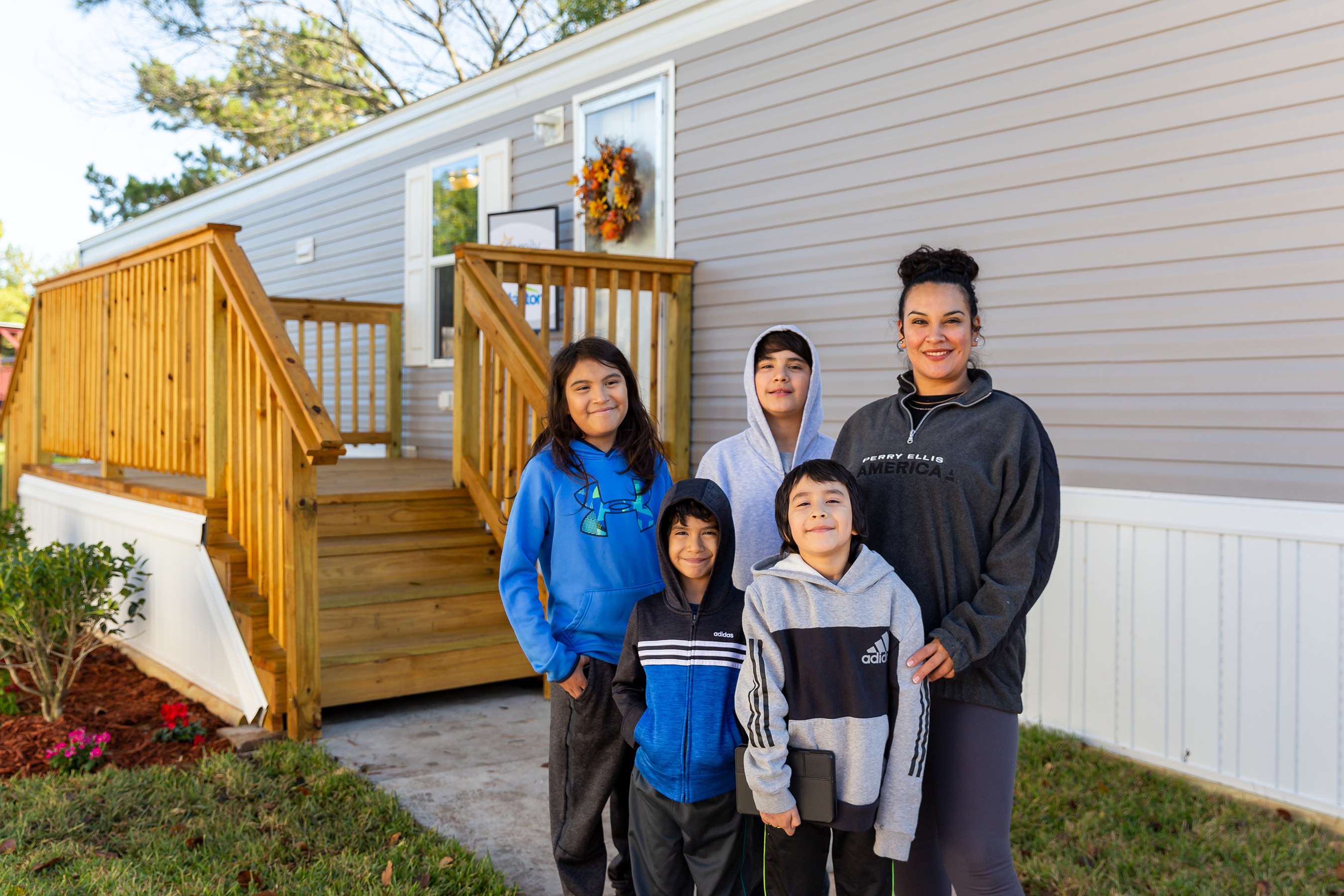 Caren and her four boys moved into their transitional home in Houston.