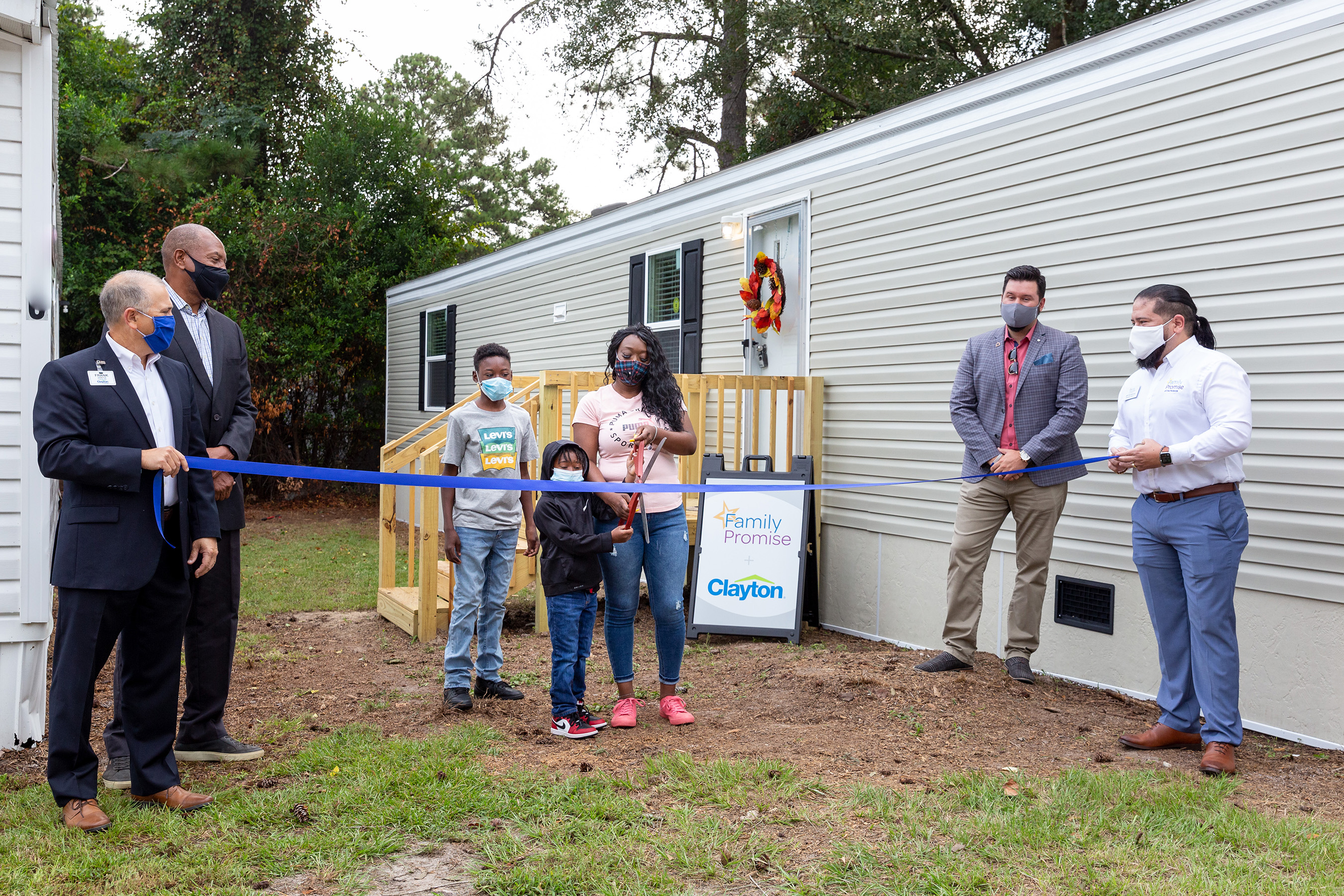 In 2020, Clayton donated the first home to be used as transitional housing. Ciara and her two children cut the ribbon as the first family to live in the home in South Carolina.