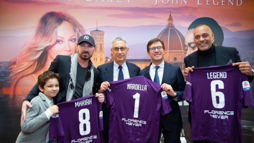 Left to Right, Leonidas Bosco, Creative Director 4Ever Brand Marco Bosco, Vice President ACF Fiorentina, Gino Salica, Florence Mayor Dario Nardella and VivaTicket CEO Silvano Taiani.