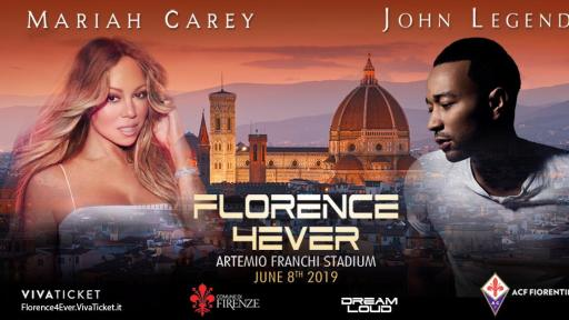 Mariah Carey and John Legend will headline Florence4Ever, June 8th at historic Artemio Franchi Stadium accompanied by a 100 piece orchestra.