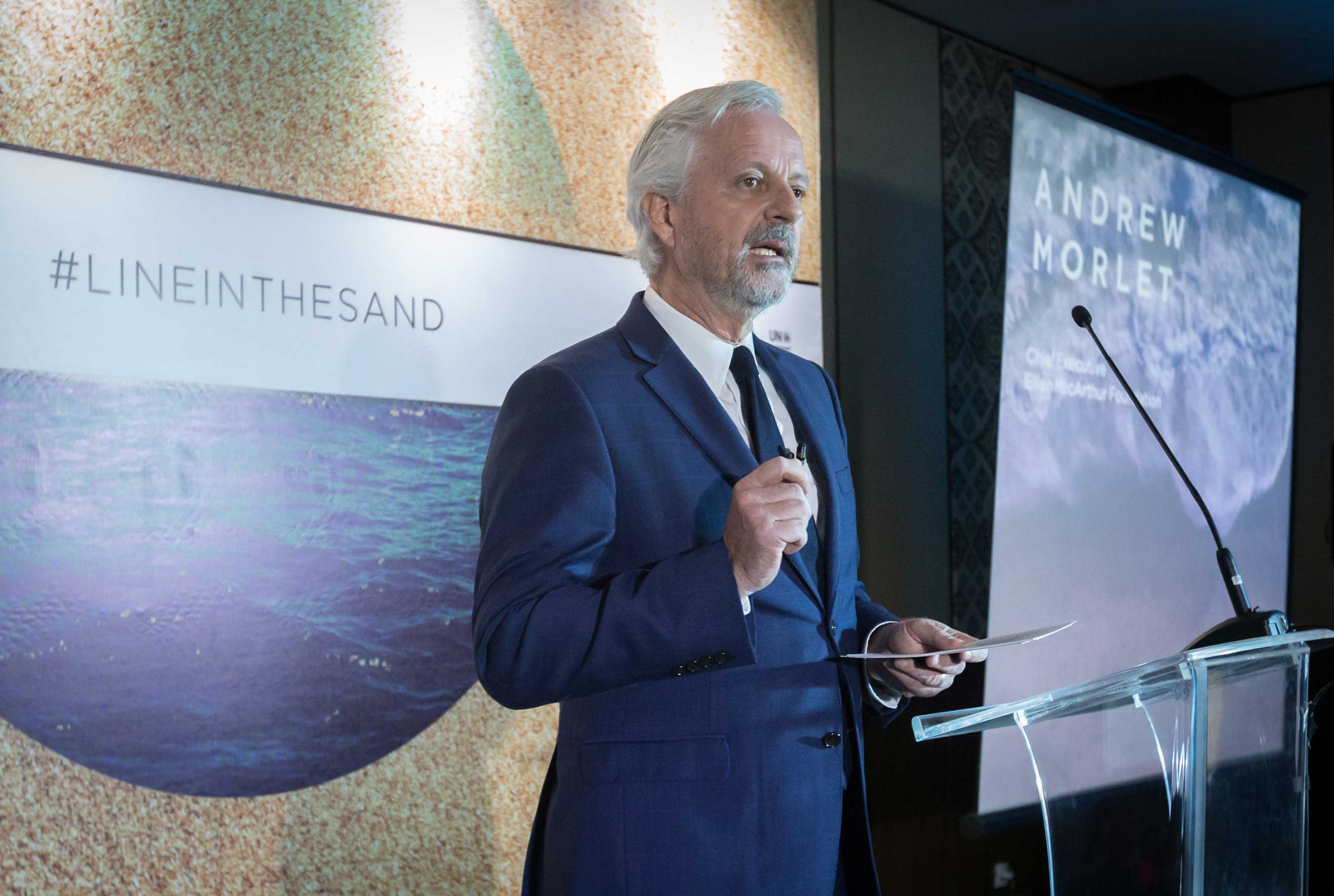 Andrew Morlet, CEO of the Ellen MacArthur Foundation, addresses delegates in Bali, Indonesia during signing of the New Plastic Economy Global Commitment. (Graham Crouch/AP Photography for SC Johnson)