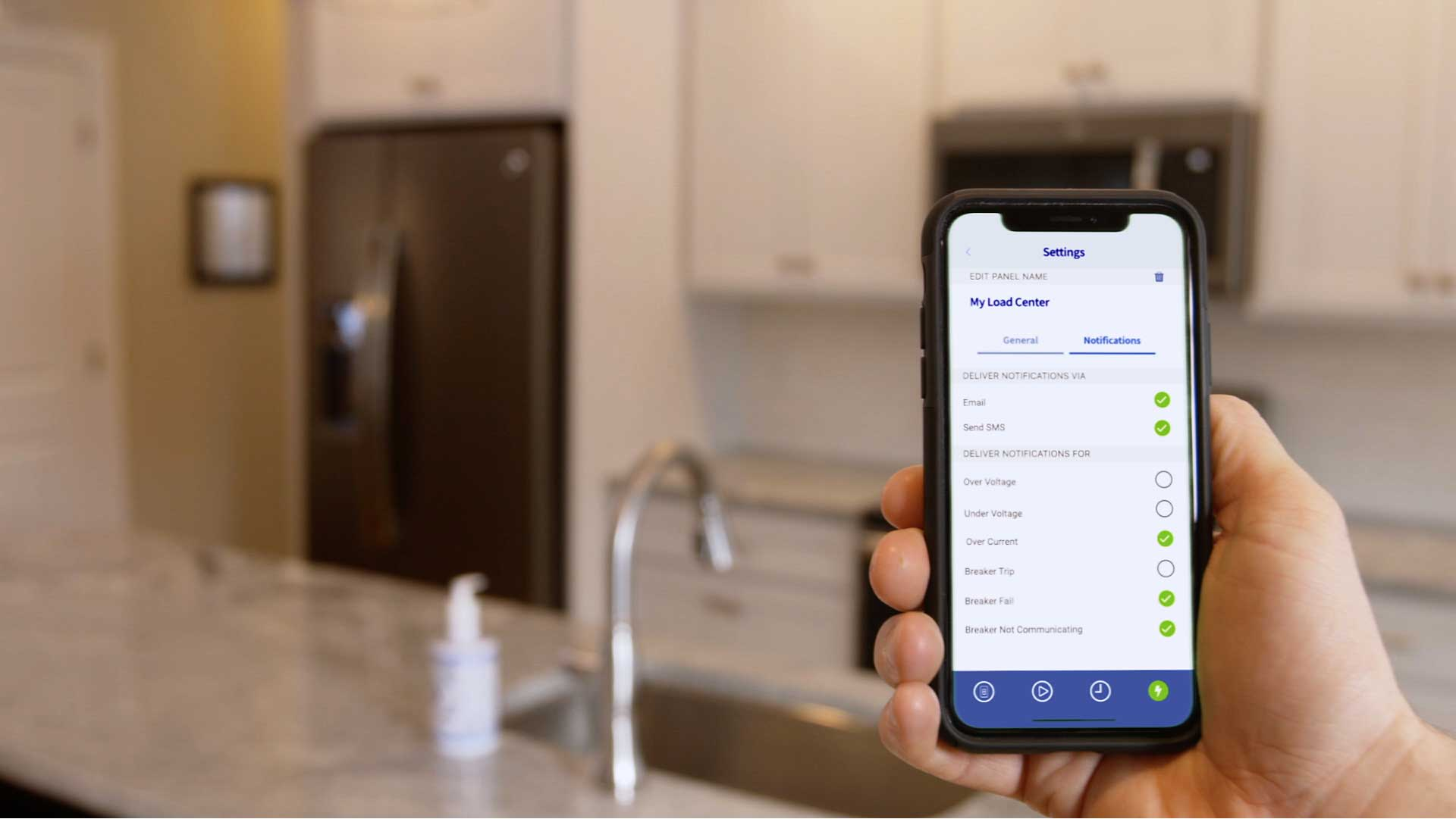 Using the My Leviton App, users can monitor electricity usage per branch circuit or appliance, view usage trends and estimate their electricity bill, setup alerts to be notified when a circuit breaker has tripped and why, or evaluate if an appliance has been on or off for a specific amount of time. Users can also be assured the load center's smart circuit breakers are receiving the latest firmware updates.
