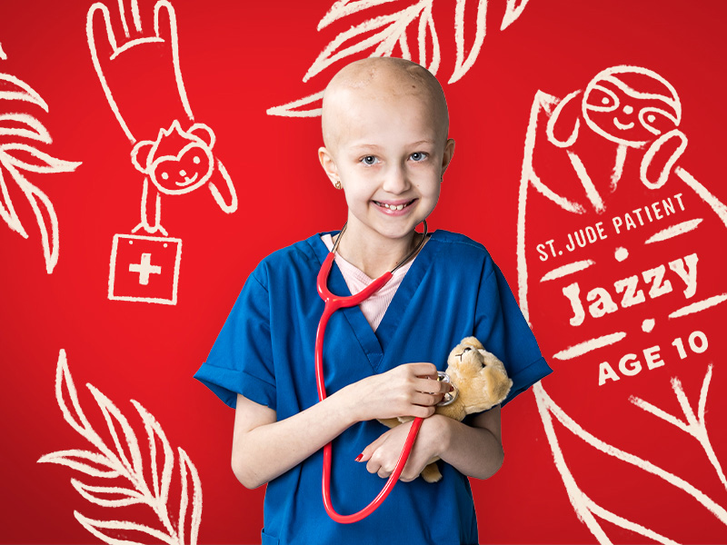 Jazzy dreams of becoming a veterinarian. At St. Jude Children's Research Hospital®, she's undergoing treatment for a medulloblastoma. She hopes to make the world a better place for her furry friends.