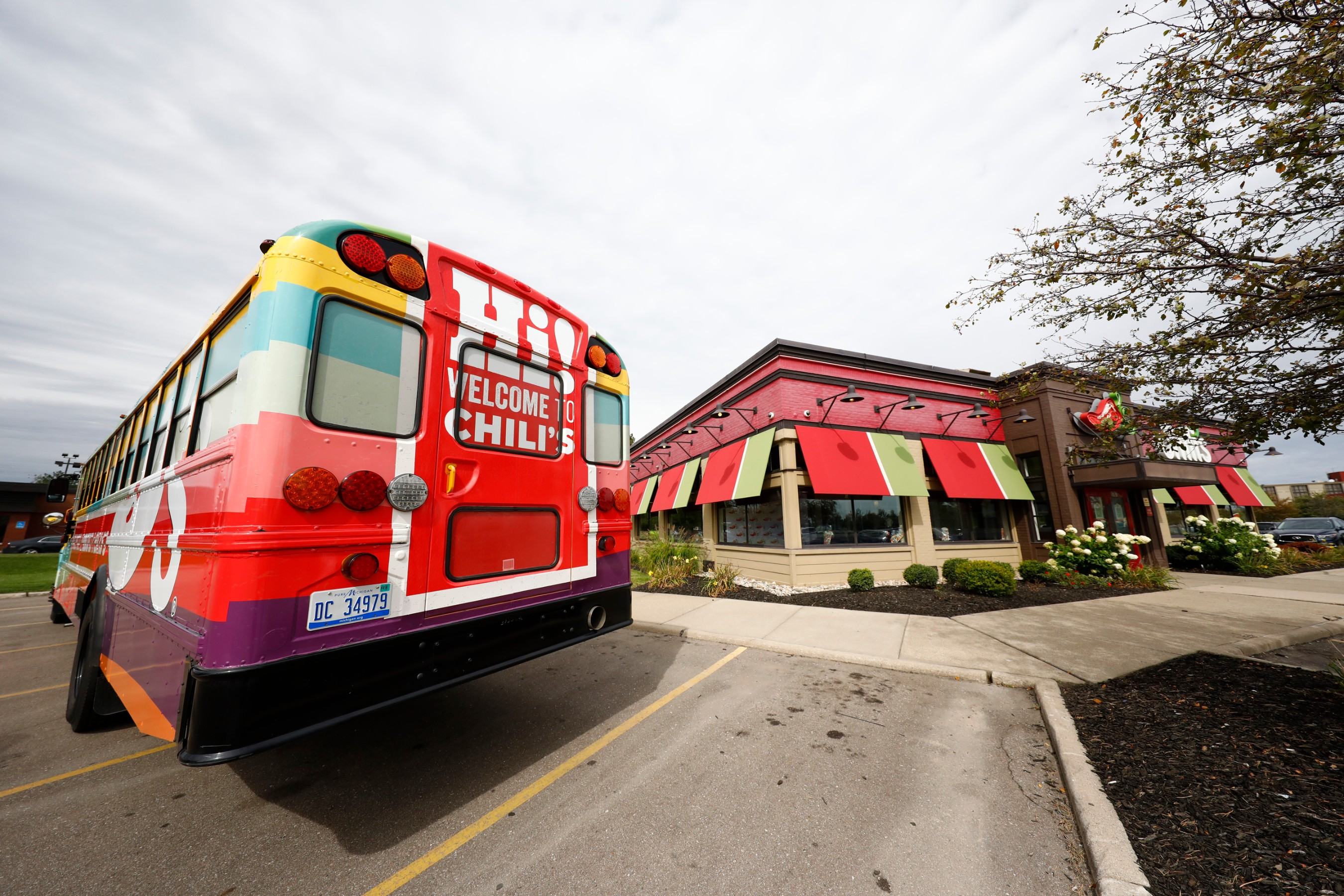 Chili's custom school bus arrives at Chili's Ford Road in Detroit, MI.