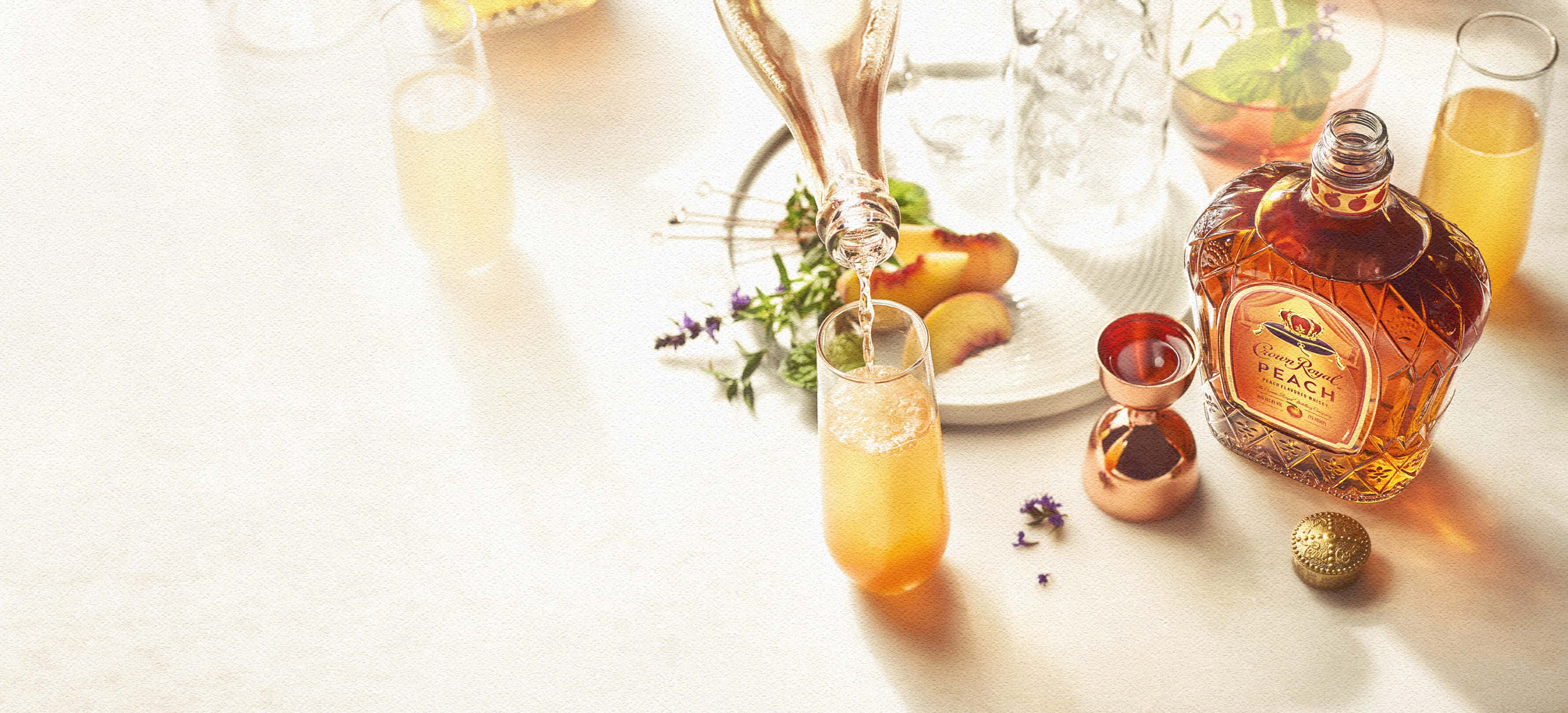A Royal Peach Fizz is the peach perfect addition to an impromptu Sunday brunch at the trendiest rooftop patio in town.
