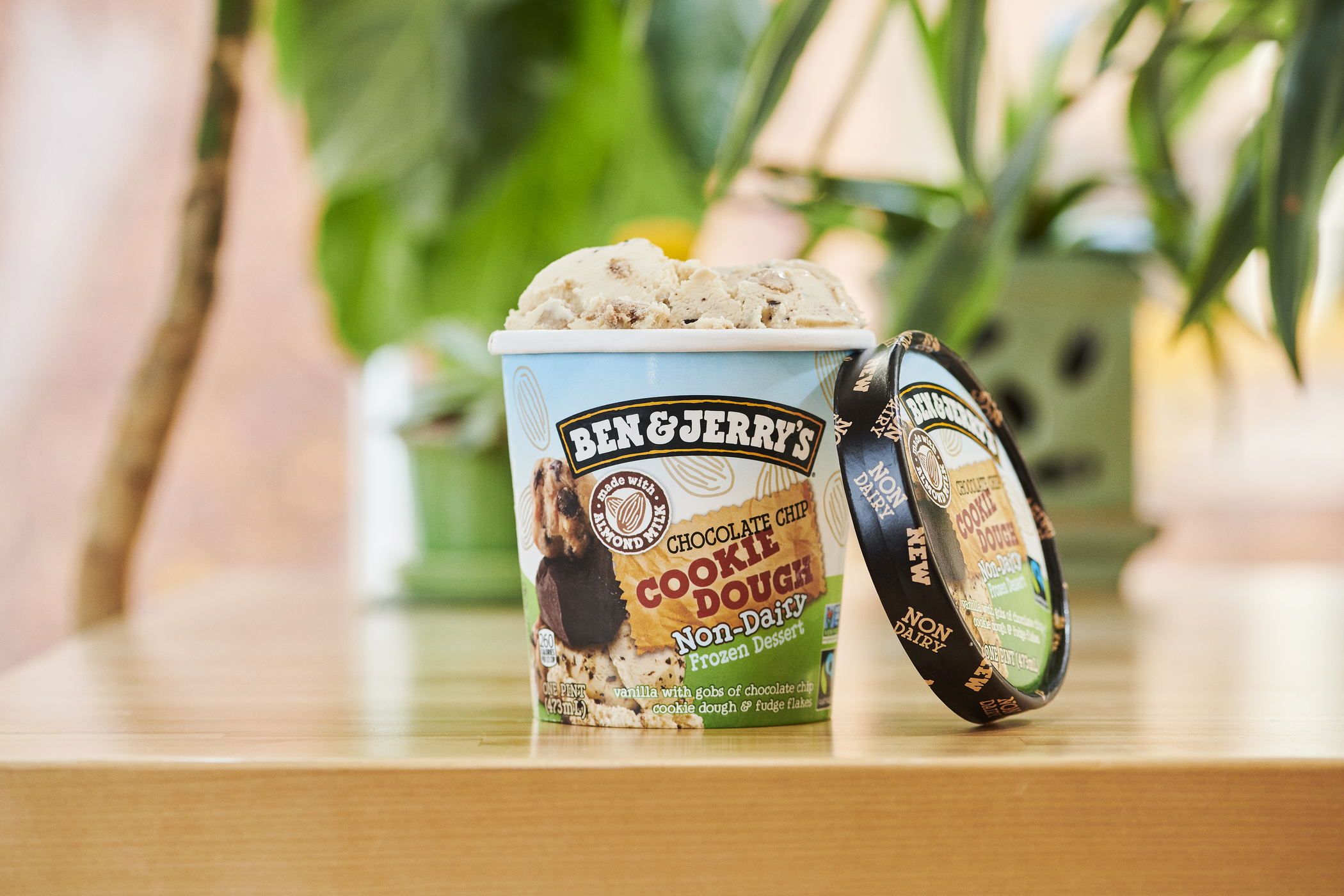 Ben & Jerry's Non-Dairy Chocolate Chip Cookie Dough is vanilla with gobs of chocolate chip cookie dough and fudge flakes. This is a vegan version of Ben & Jerry's #1 favorite fan flavor.