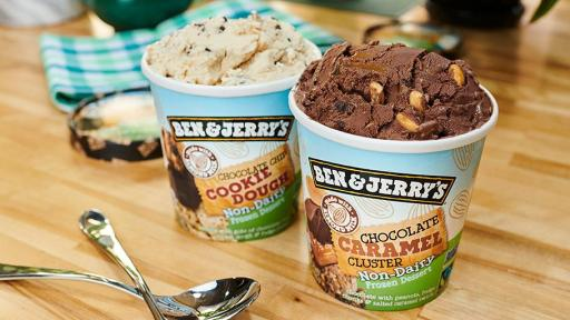 Ben & Jerry's now has 11 Non-Dairy flavors, including new Chocolate Chip Cookie Dough and Chocolate Caramel Cluster.