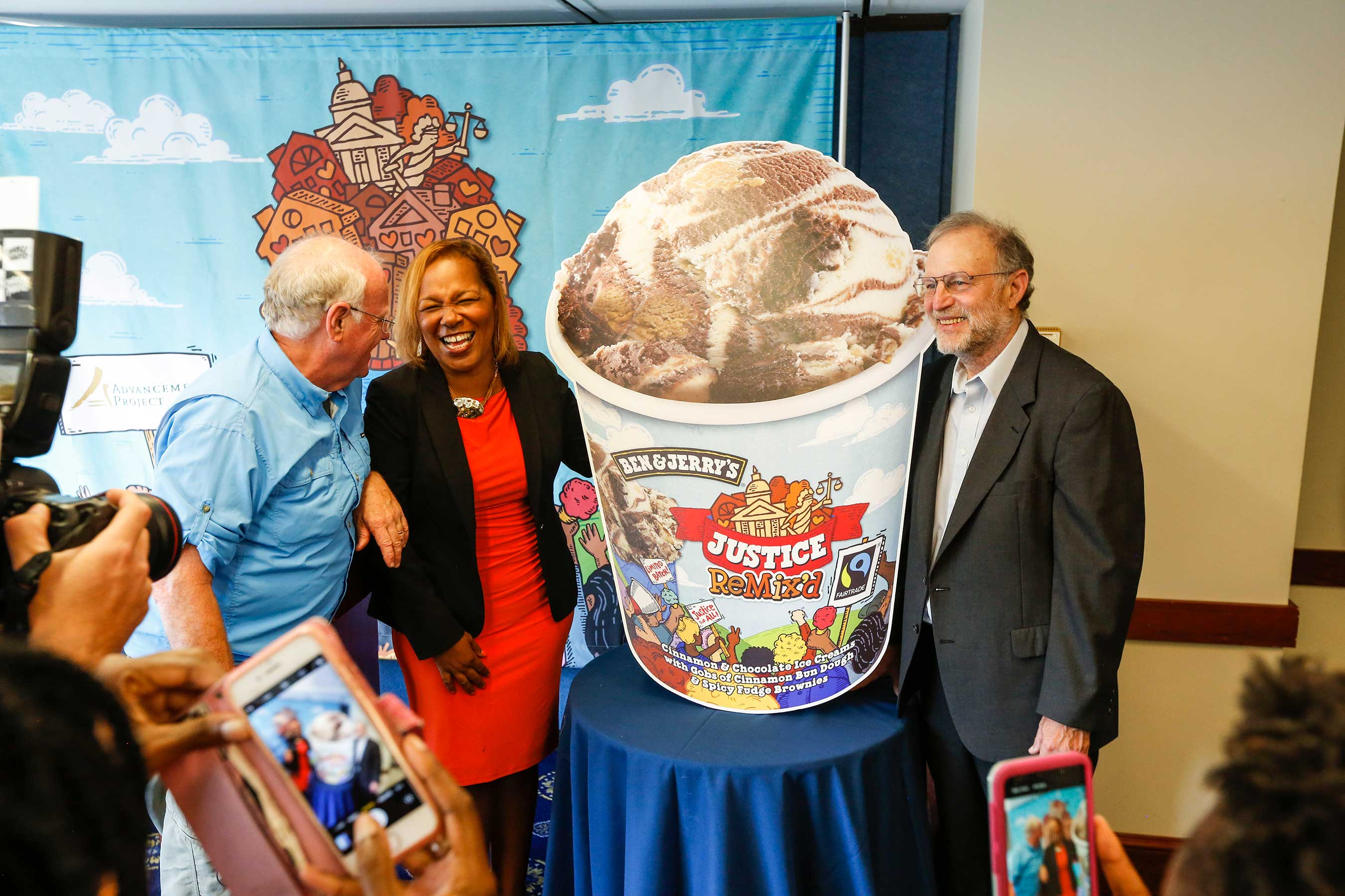 "Ben Cohen and Jerry Greenfield, CoFounders of Ben & Jerry's, unveiled ""Justice ReMix'd"" today with Judith Browne Dianis, Executive Director of Advancement Project National Office. The new flavor is part of the company's campaign for criminal justice reform."