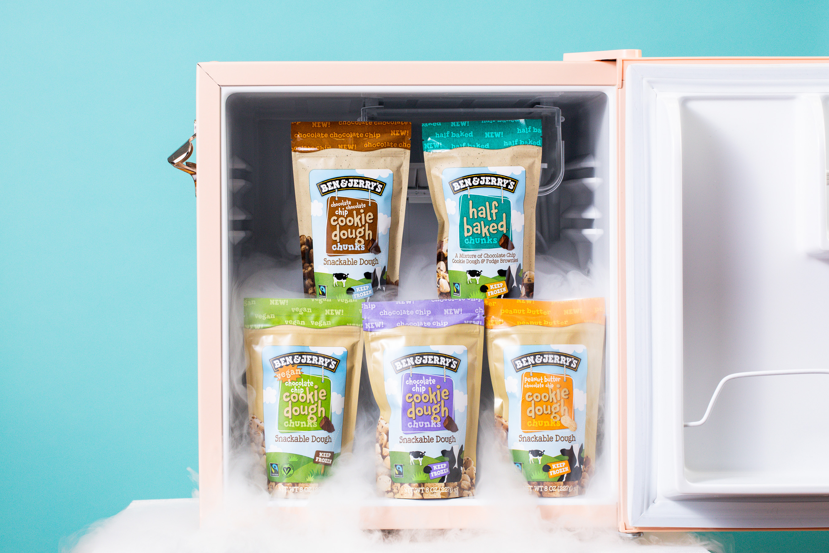 Ben & Jerry's now offers five different types of snackable cookie dough: Chocolate Chip Cookie Dough, Vegan Chocolate Chip Cookie Dough, Peanut Butter Chocolate Chip Cookie Dough, Chocolate Chocolate Chip Cookie Dough, and Half Baked Chunks.