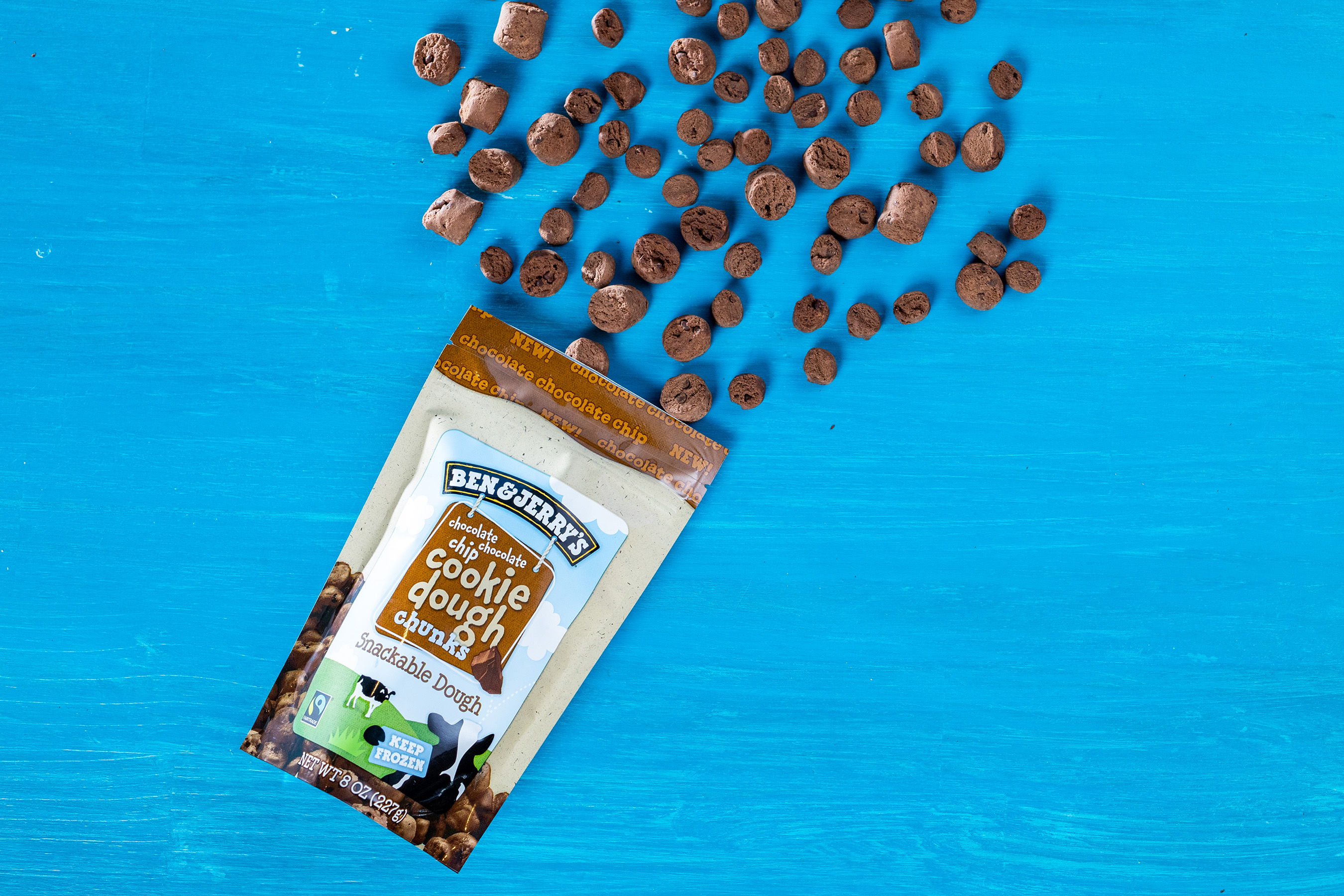 One new variation of Ben & Jerry's dough chunks is chocolate cookie dough with chocolate chips.