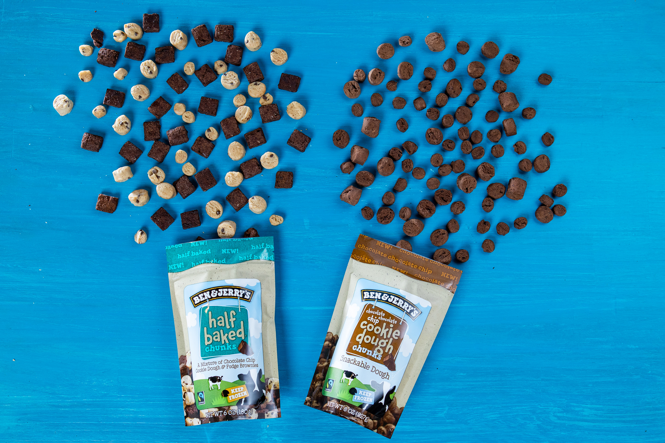 Ben & Jerry's are the dough-riginals when it comes to adding cookie dough to ice cream. Now available: Chocolate Chocolate Chip Cookie Dough and Half Baked Chunks.