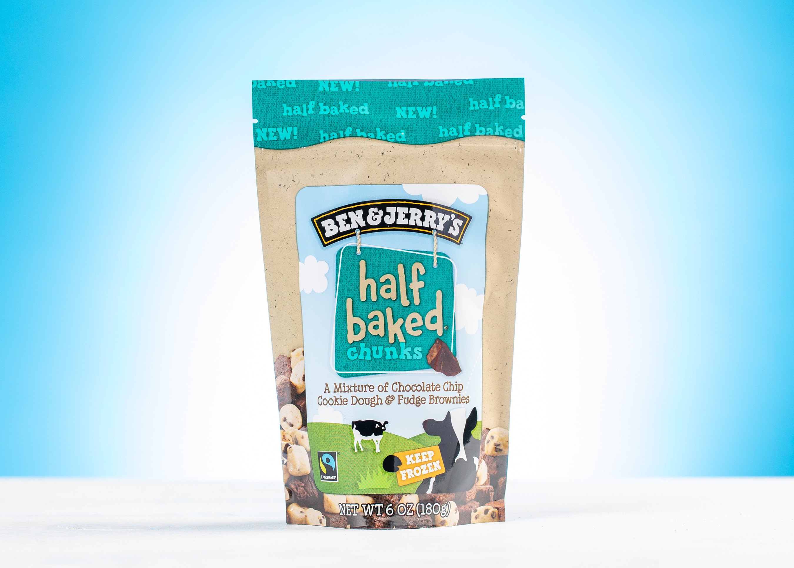 Half Baked Chunks is a mixture of chocolate chip cookie dough & fudge brownies.
