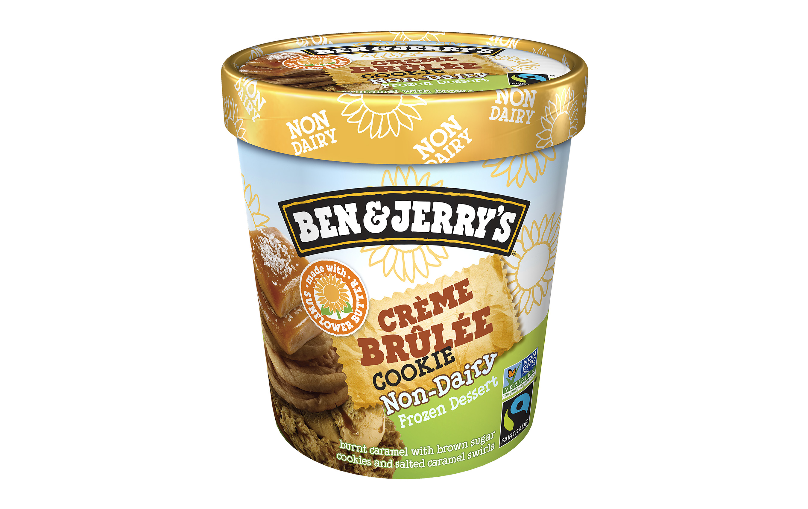Ben & Jerry's launches sunflower butter based Crème Brûlée Cookie, a burnt caramel non-dairy frozen dessert with brown sugar cookies and salted caramel swirls.
