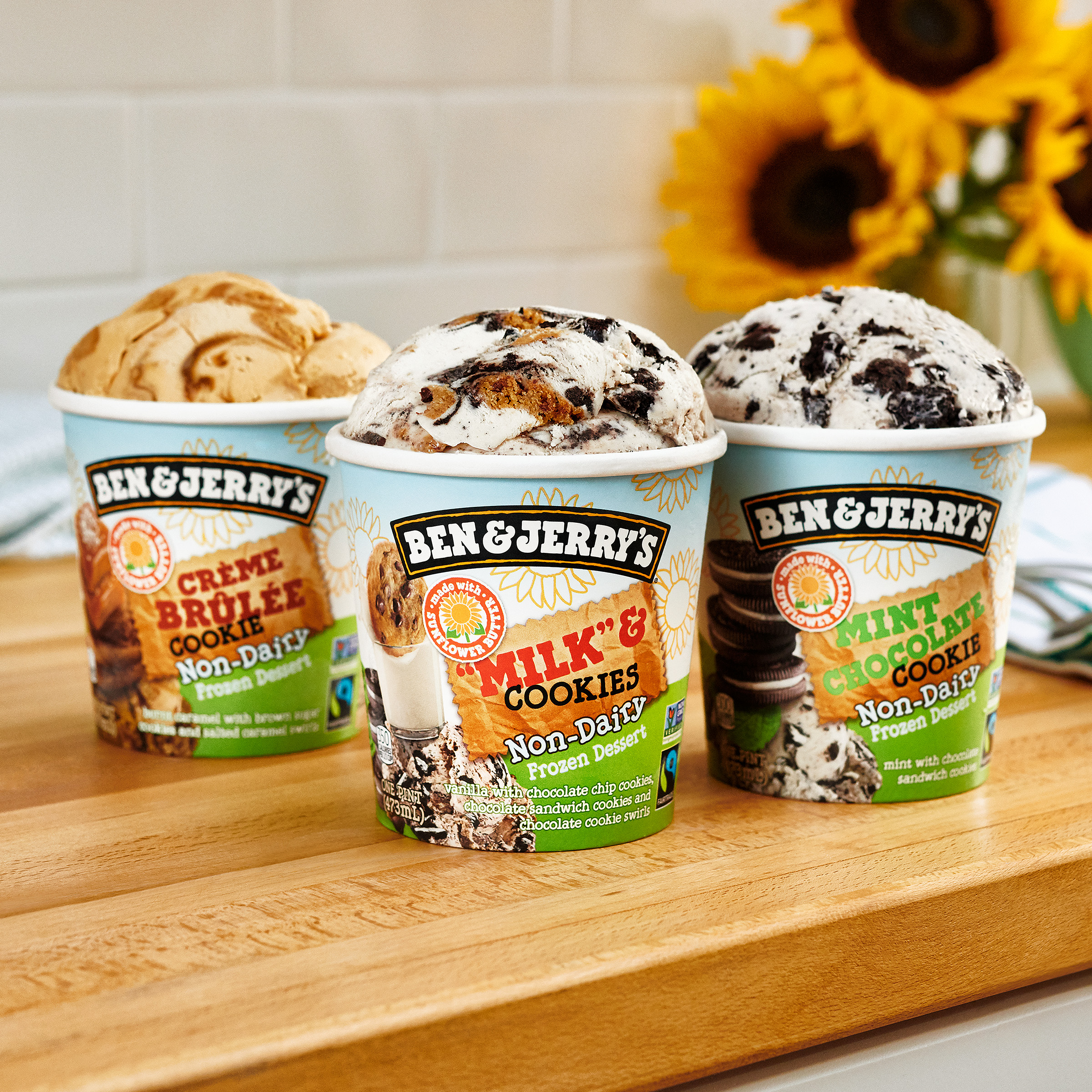 """Ben & Jerry's launches three new sunflower butter flavors: Crème Brûlée Cookie, """"Milk"""" & Cookies, and Mint Chocolate Cookie, available on shelves now."""