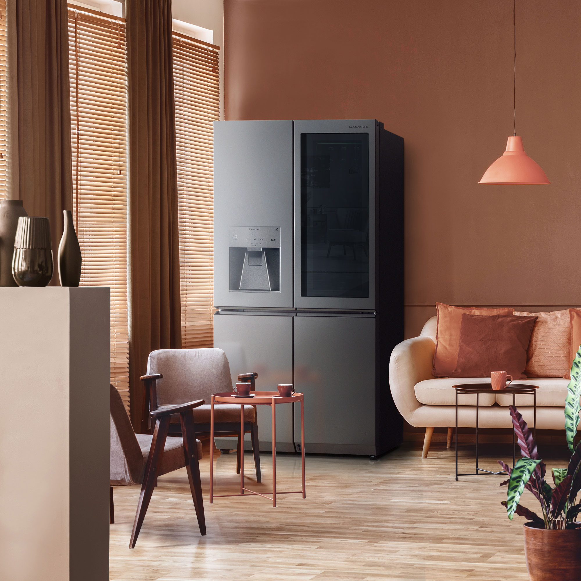 LG SIGNATURE Refrigerator with coral and clay elements
