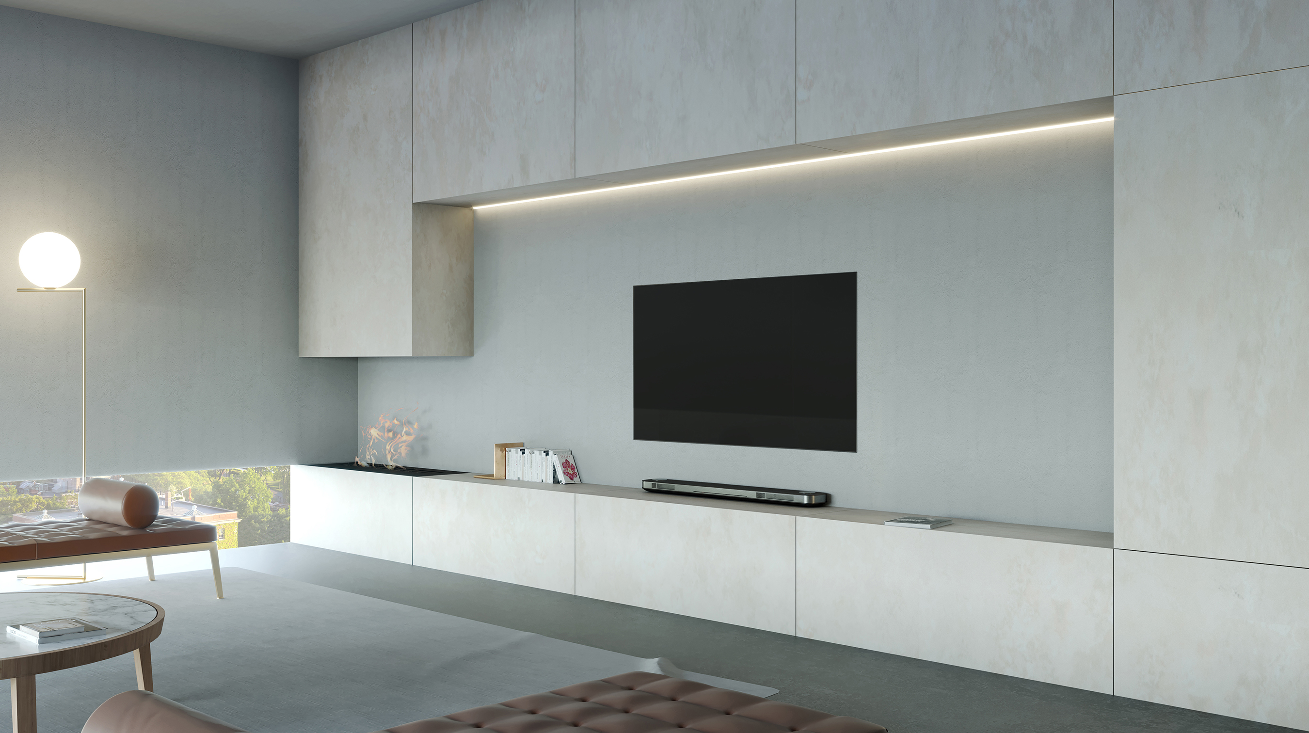 LG SIGNATURE OLED TV W with cream tones