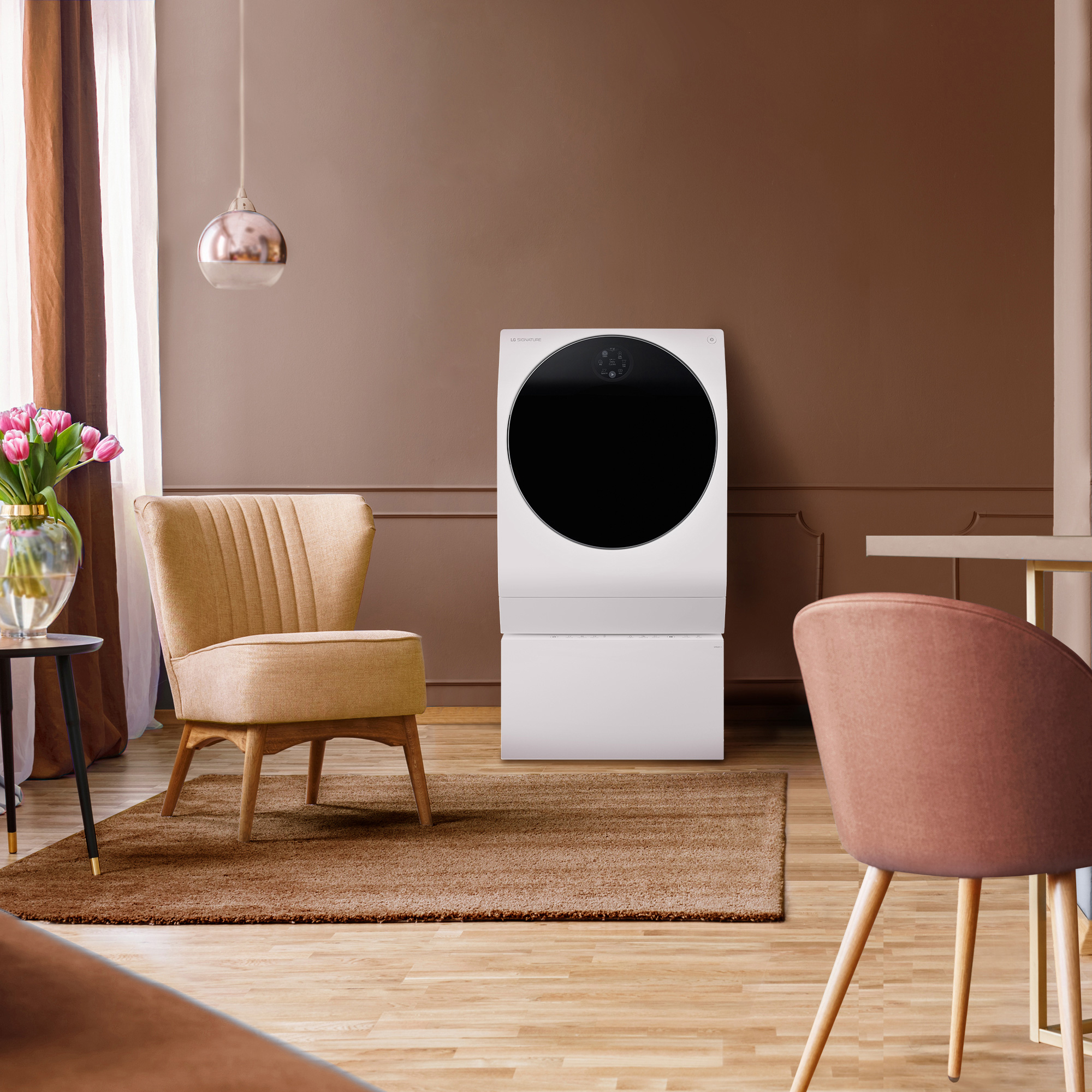 LG SIGNATURE Washing Machine with coral and clay elements