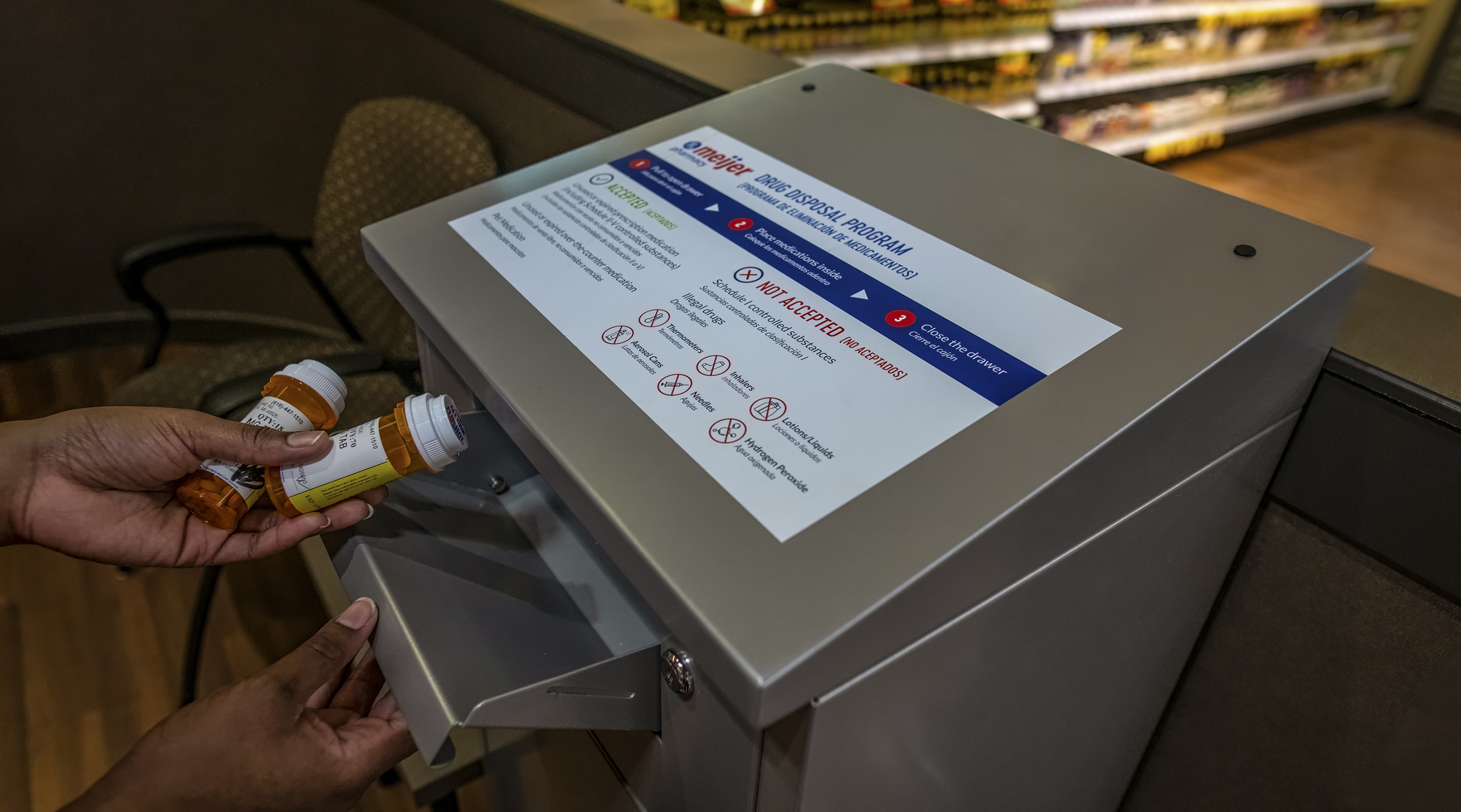 Meijer installed secure, in-store kiosks for customers to safely dispose of unused or expired medications
