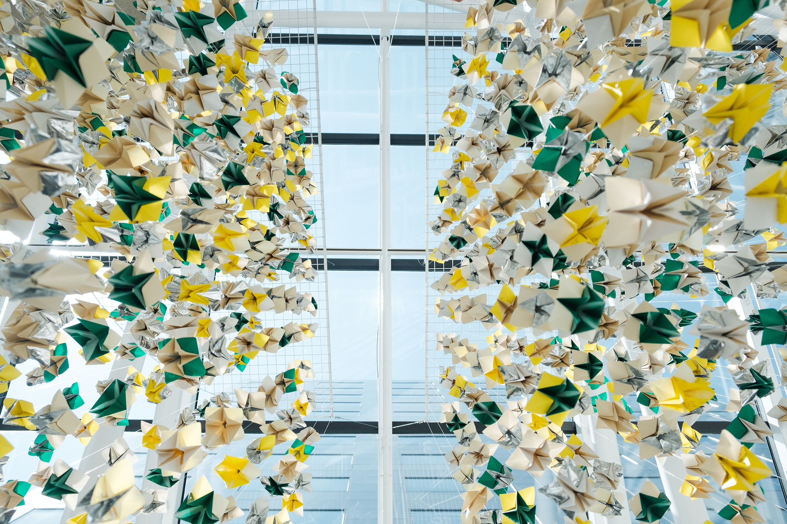 Primrose Schools transformed 6,000 handwritten guilts from parents into a hanging art installation in their Atlanta headquarters building.
