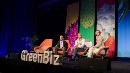 Stage for the GreenBiz 2019 with Fisk Johnson (left) and David Katz (center) talking.