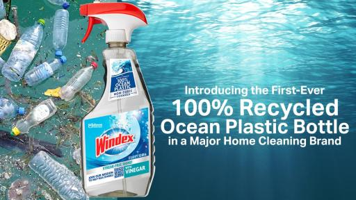 Windex bottle made from 100% recycled ocean plastic