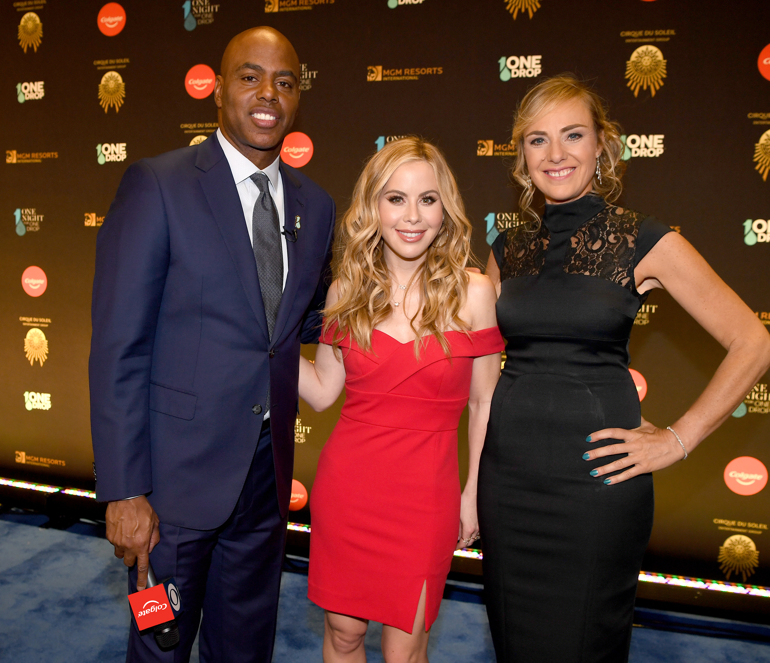 Figure Skating Champion, Tara Lipinski and Entertainment Tonight's Kevin Frazier host Cirque Du Soleil's exclusive One Night for One Drop performance, imagined by Cirque du Soleil in Las Vegas. Pictured alongside with Ultra-runner and Colgate partner Mina Guli.