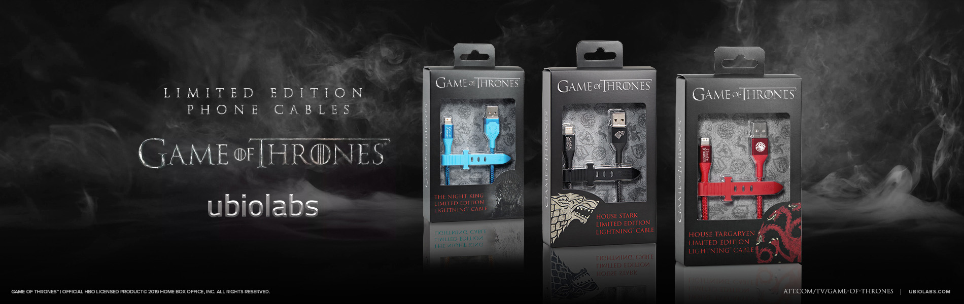 Game of Thrones mobile phone cables in their package