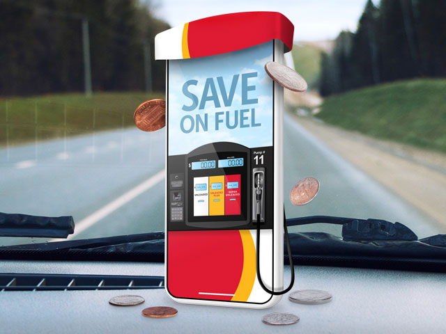 Save 3¢ per gallon on gas and auto diesel.