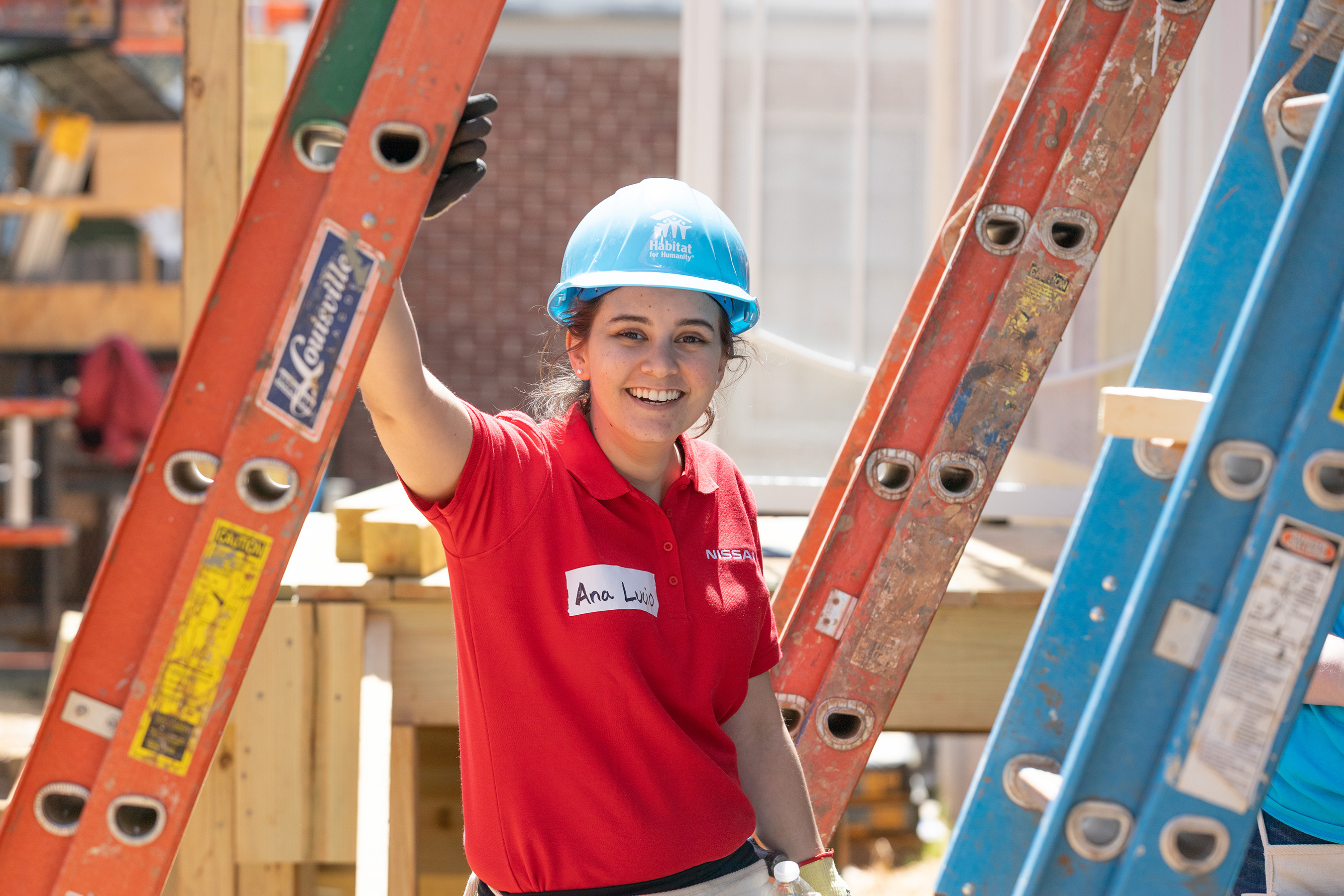 A volunteer from Nissan on the build site during the launch of Habitat for Humanity's Home is the Key campaign in Atlanta.