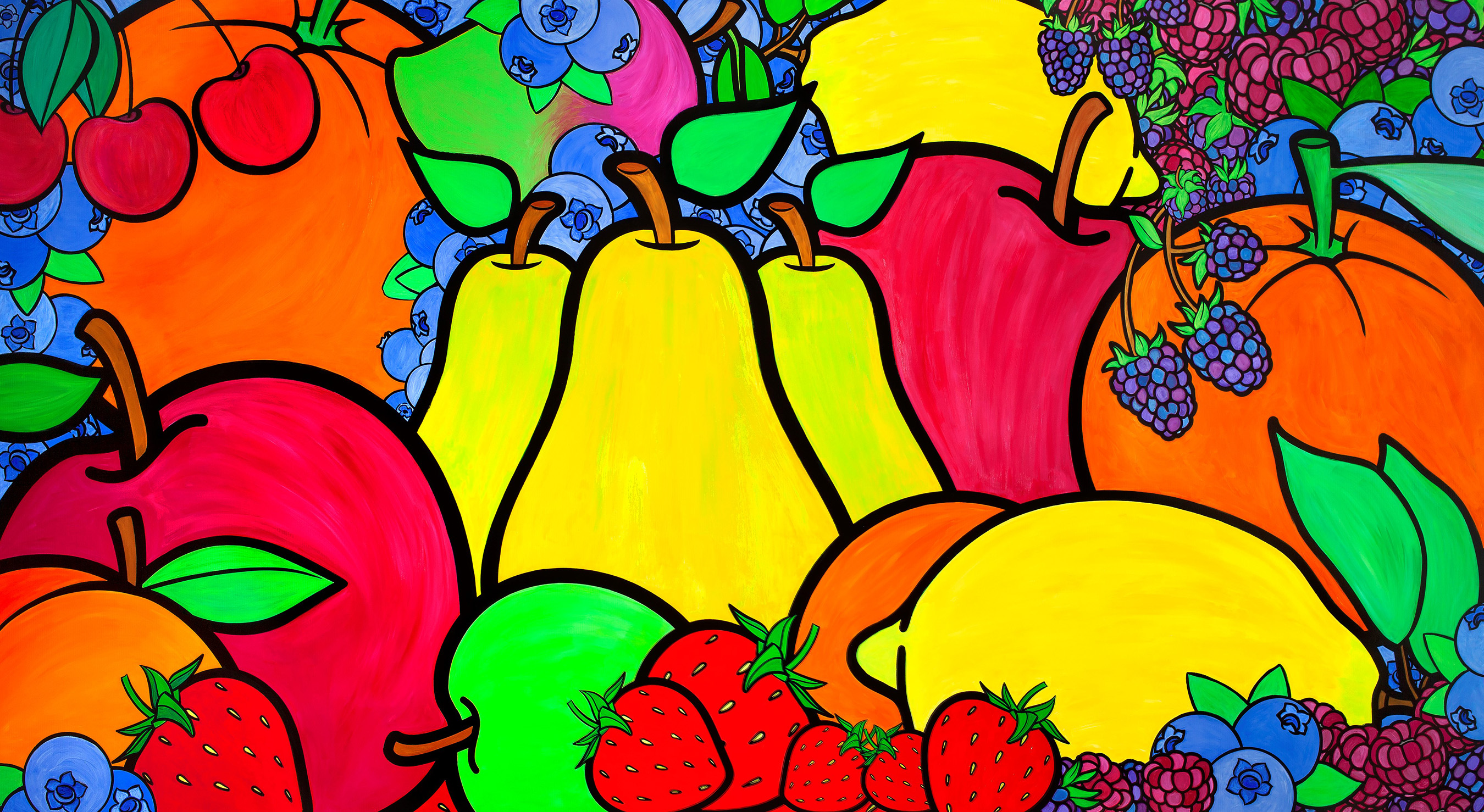 Artist Ed Massey provides colorful fruit mural at Southside United HDFC-Los Sures, Brooklyn