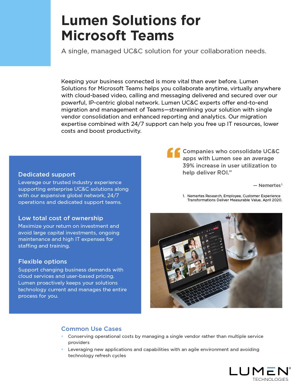 Lumen Solutions for Microsoft Teams Data Sheet