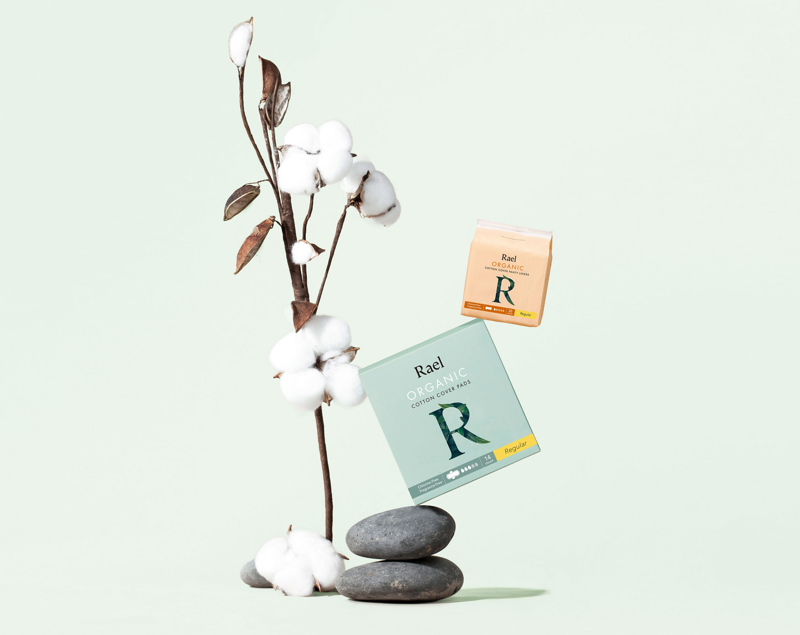 Effective, organic period products and natural feminine care that don't sacrifice comfort or performance by Rael.