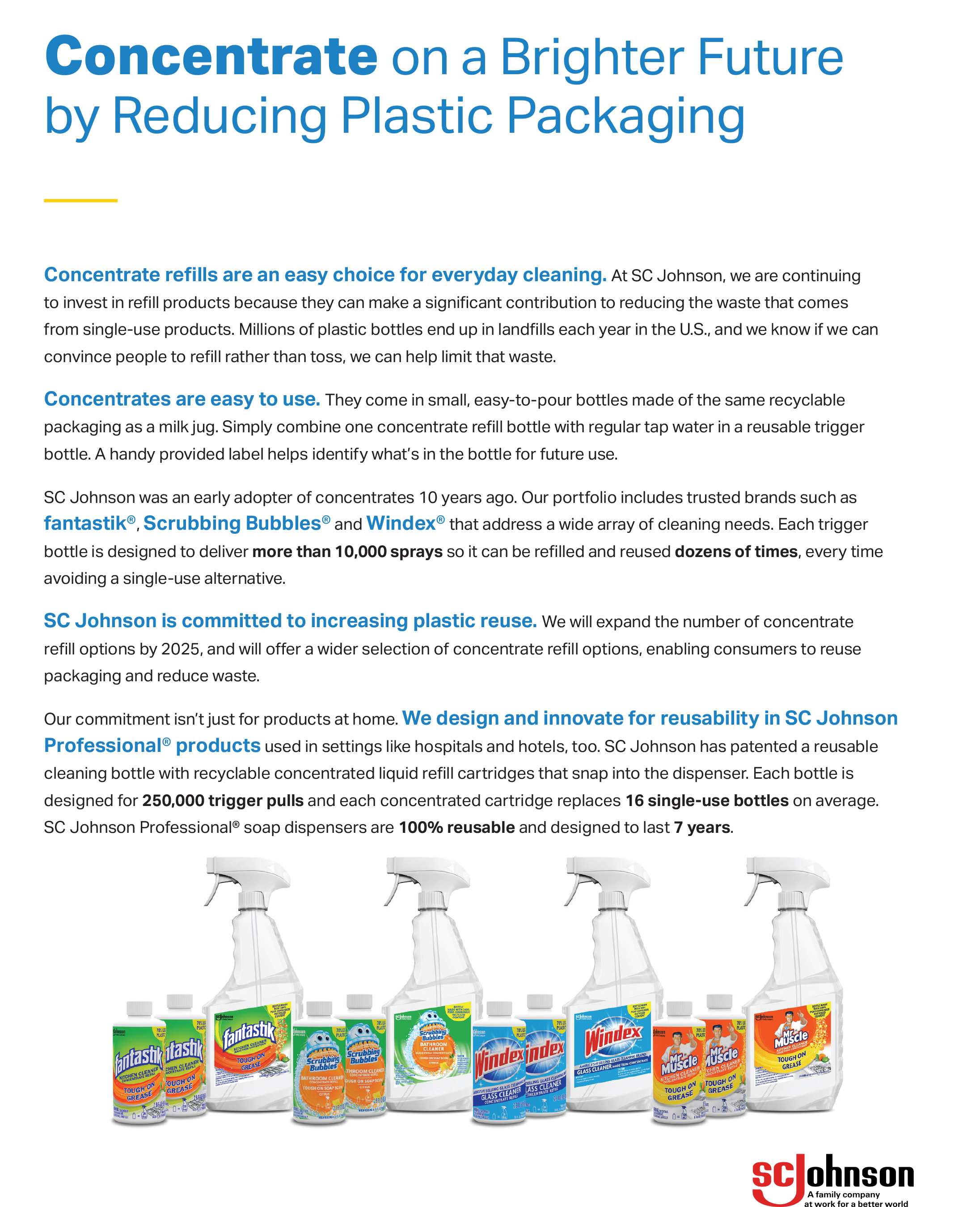 SC Johnson is committed to reducing plastic packaging