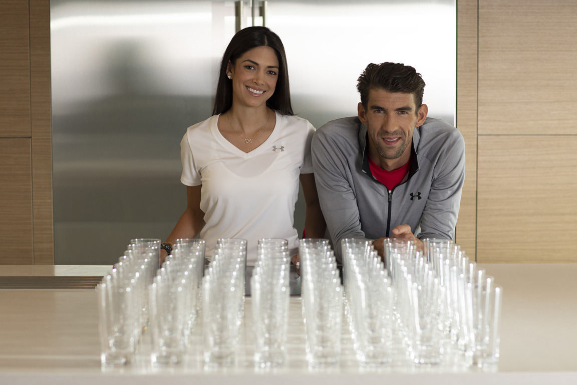 Together with Colgate, Nicole and Michael Phelps teach their family to turn off the faucet when brushing their teeth which can save up to 64 glasses of water each time.