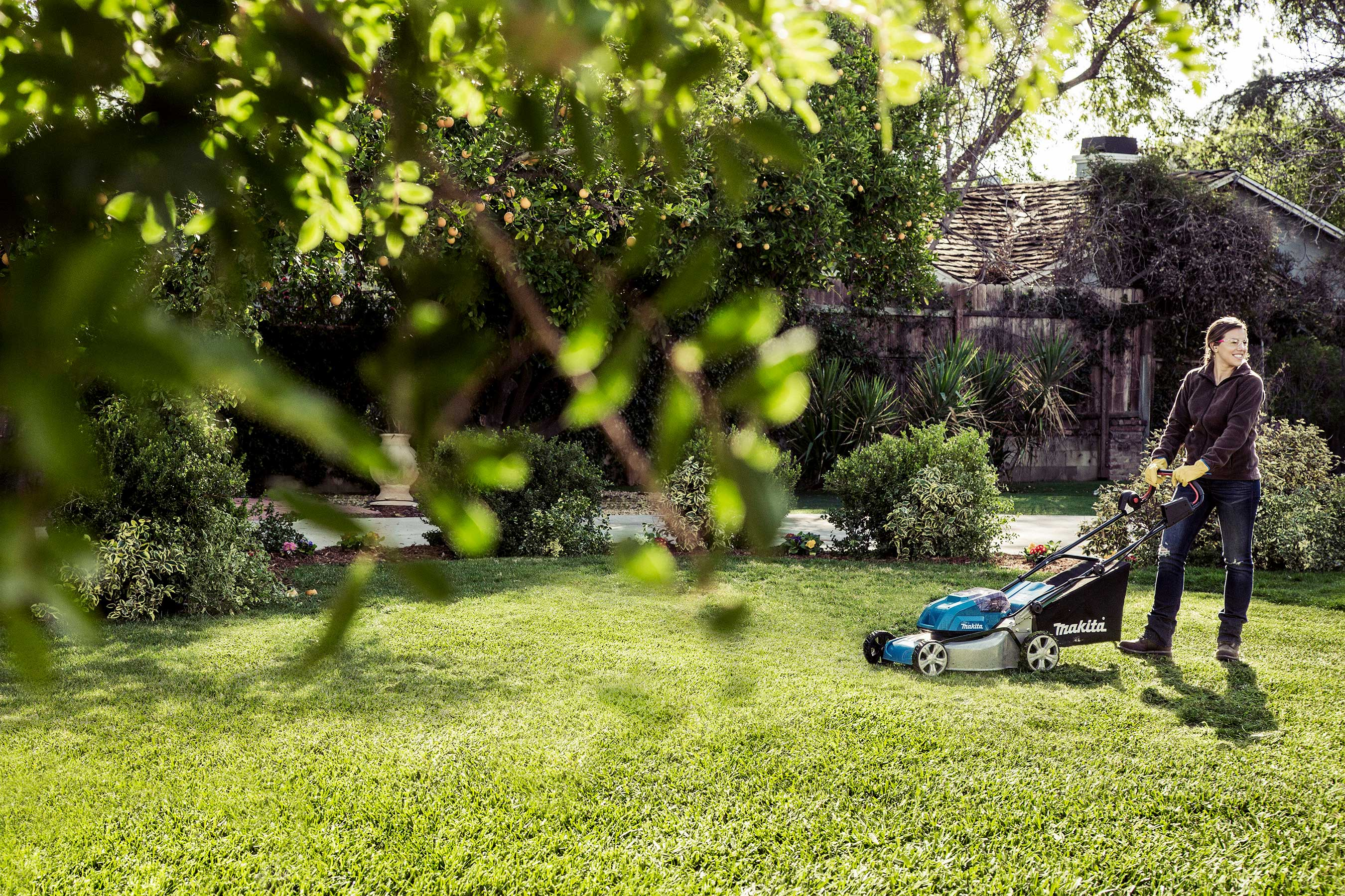 The Makita LXT Cordless Lawn Mower cuts up to 7,300 sq. ft. of grass (using two 5.0Ah LXT Batteries)