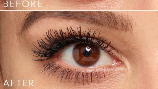 Closeup of eyes with mascara, before and after