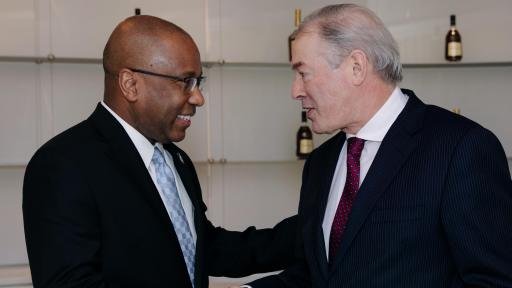 Dr. Harry Lee Williams, president and CEO of the Thurgood Marshall College Fund, shakes hands with Moët Hennessy USA's president and CEO Jim Clerkin