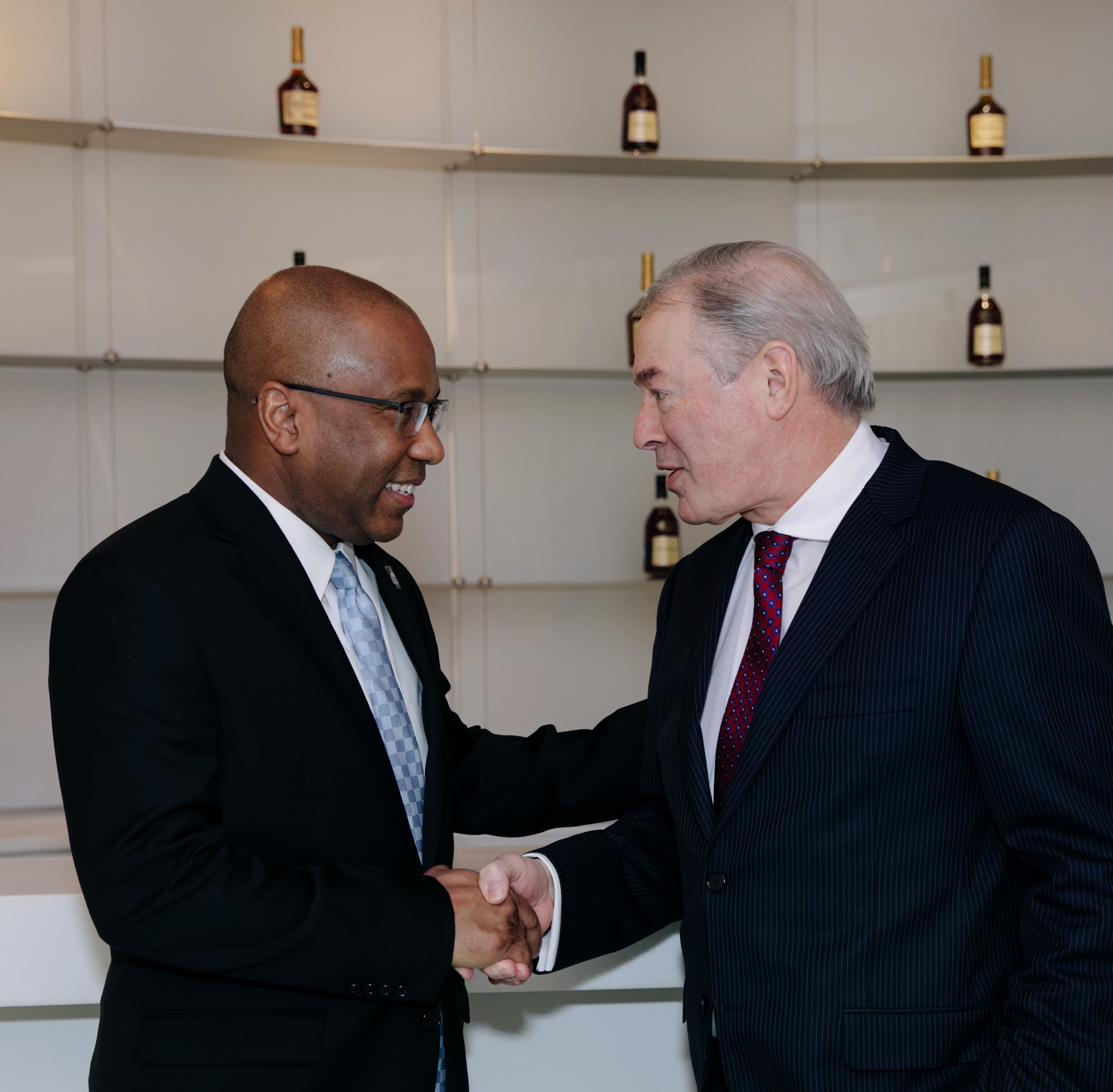 "Dr. Harry L. Williams, President and CEO, TMCF and Jim Clerkin, President and CEO, North America, Moët Hennessy, USA, celebrate the announcement of ""Hennessy Fellows,"" Thurgood Marshall College Fund's first-ever corporate HBCU graduate program."