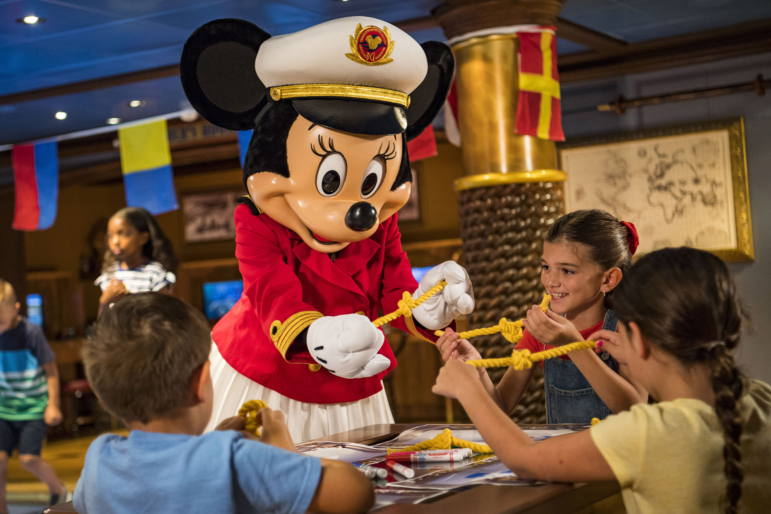 Onboard Disney Cruise Line ships later this year, Captain Minnie Mouse will appear in an all-new youth activity where young captain hopefuls practice STEM (science, technology, engineering and math) skills in a fun maritime-themed activity. The debut of Captain Minnie Mouse is part of a collection of new initiatives aiming to inspire the next generation of female leaders in the maritime industry. (Matt Stroshane, photographer)