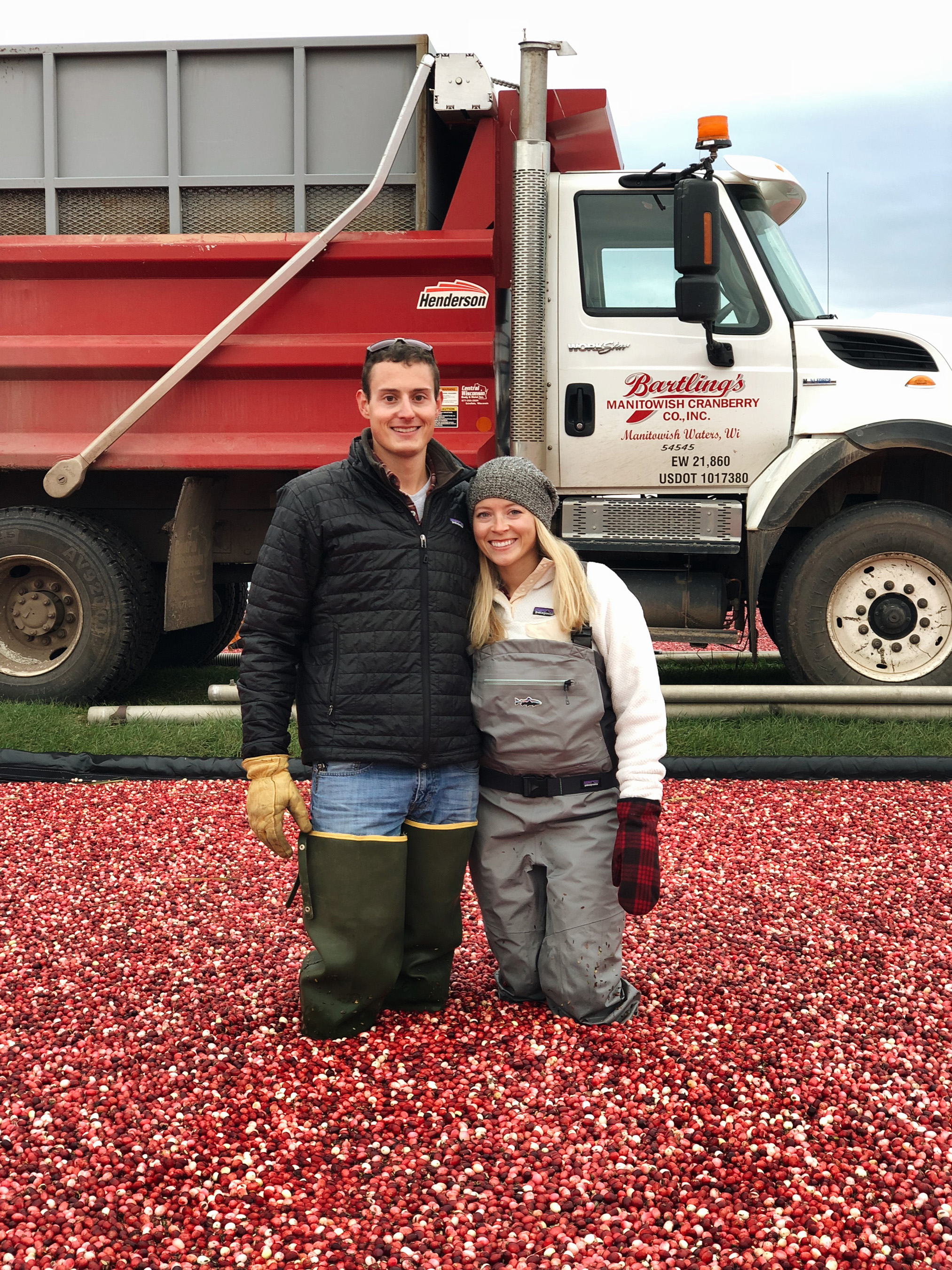 David and Becca Harvesting Cranberries