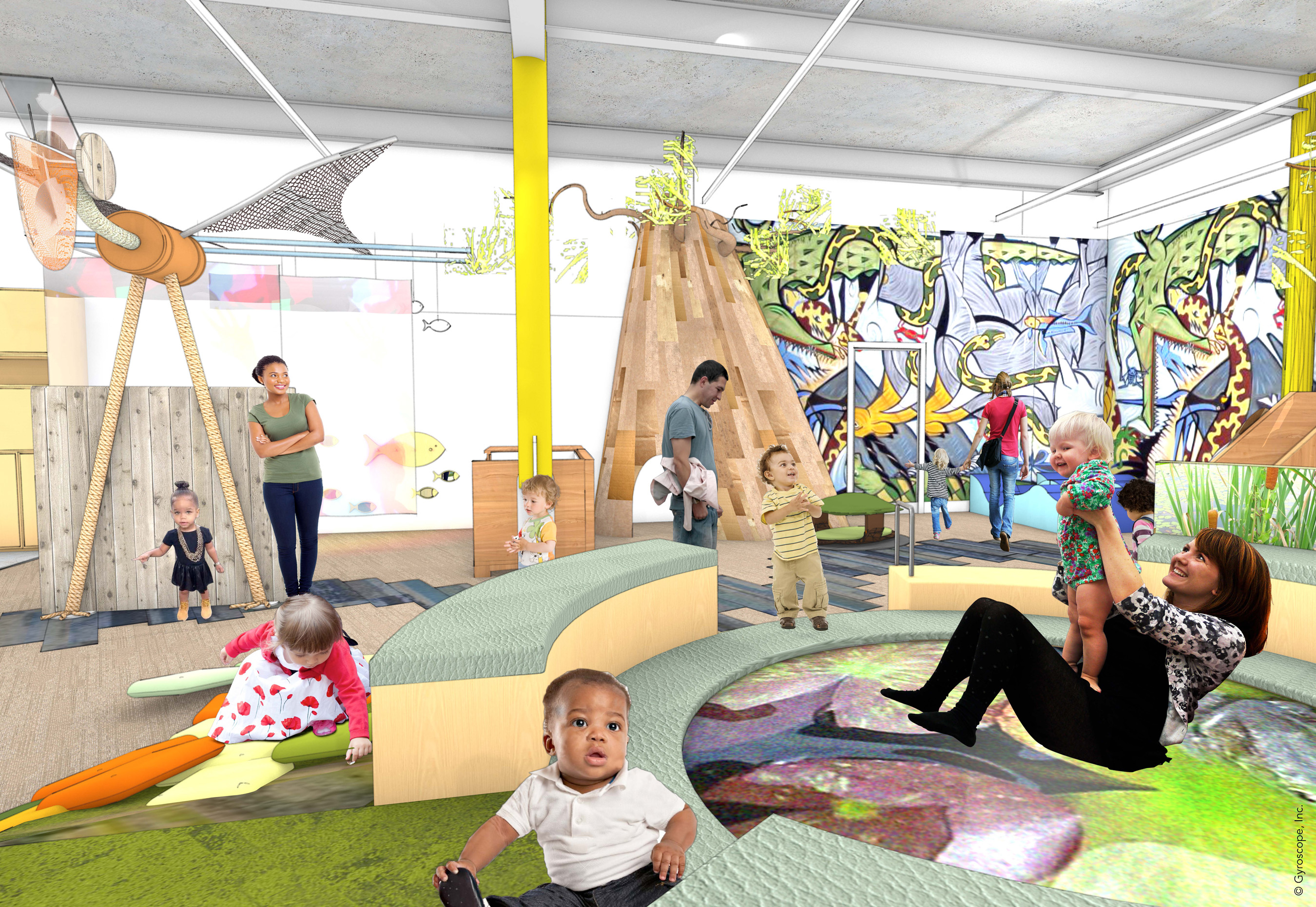 Architectural rendering of the Play With Me gallery, a space in the main Museum building designed specifically for infants and toddlers under age four with resources to support parents in their journey as their child's first teacher. (credit: Mithun)