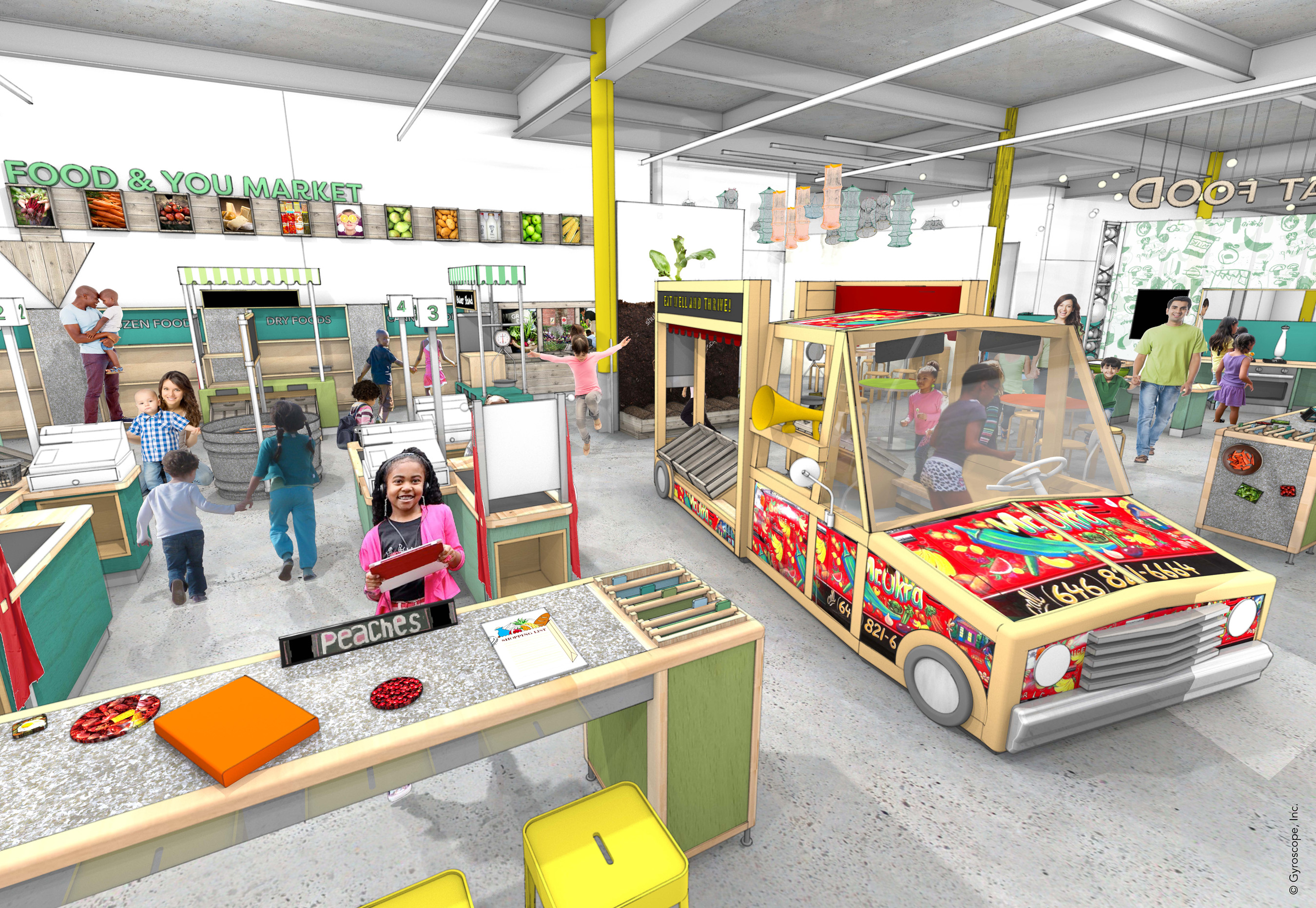 The new Louisiana Children's Museum includes an interactive culinary exhibit gallery called Follow That Food where children will take a playful Louisiana food journey that begins in the state's fields and coastal waters, ventures through the Port of New Orleans and local markets and ultimately lands on the family dinner table. (credit: Mithun)