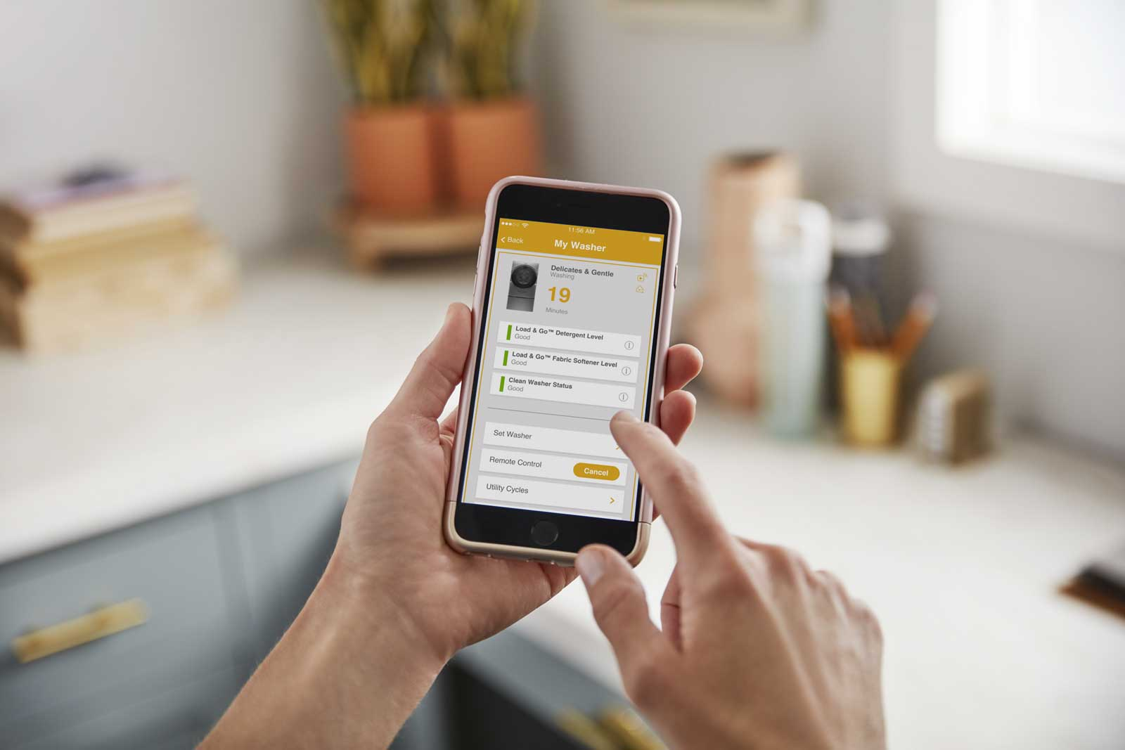 Busy families can have complete control of their Smart Front Load Pair using the Whirlpool® app via a smartphone or tablet, such as starting or scheduling a laundry cycle, even when away from home.