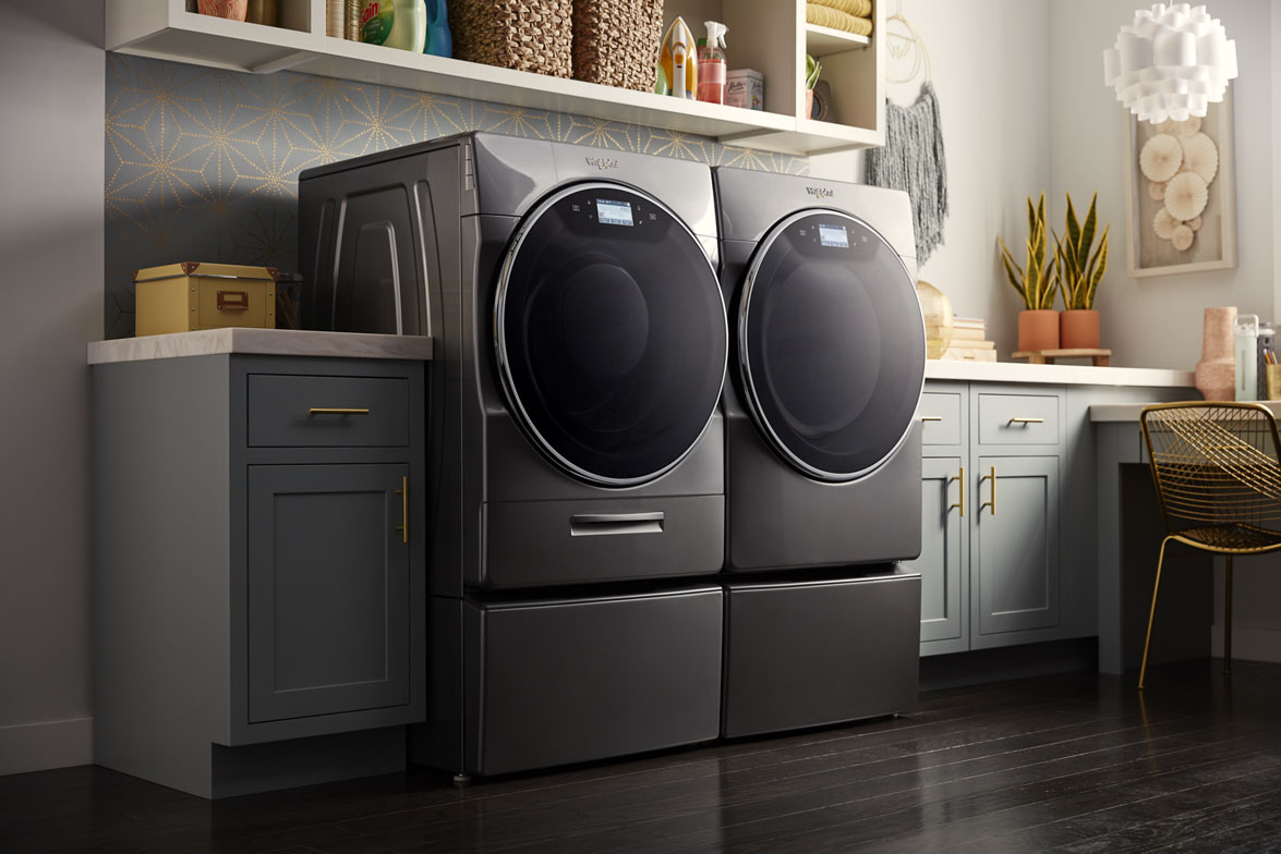 Whirlpool's new laundry pair helps families skip steps when doing laundry by offering practical features like detergent storage for up to 40 loads, control from anywhere capabilities, and more.